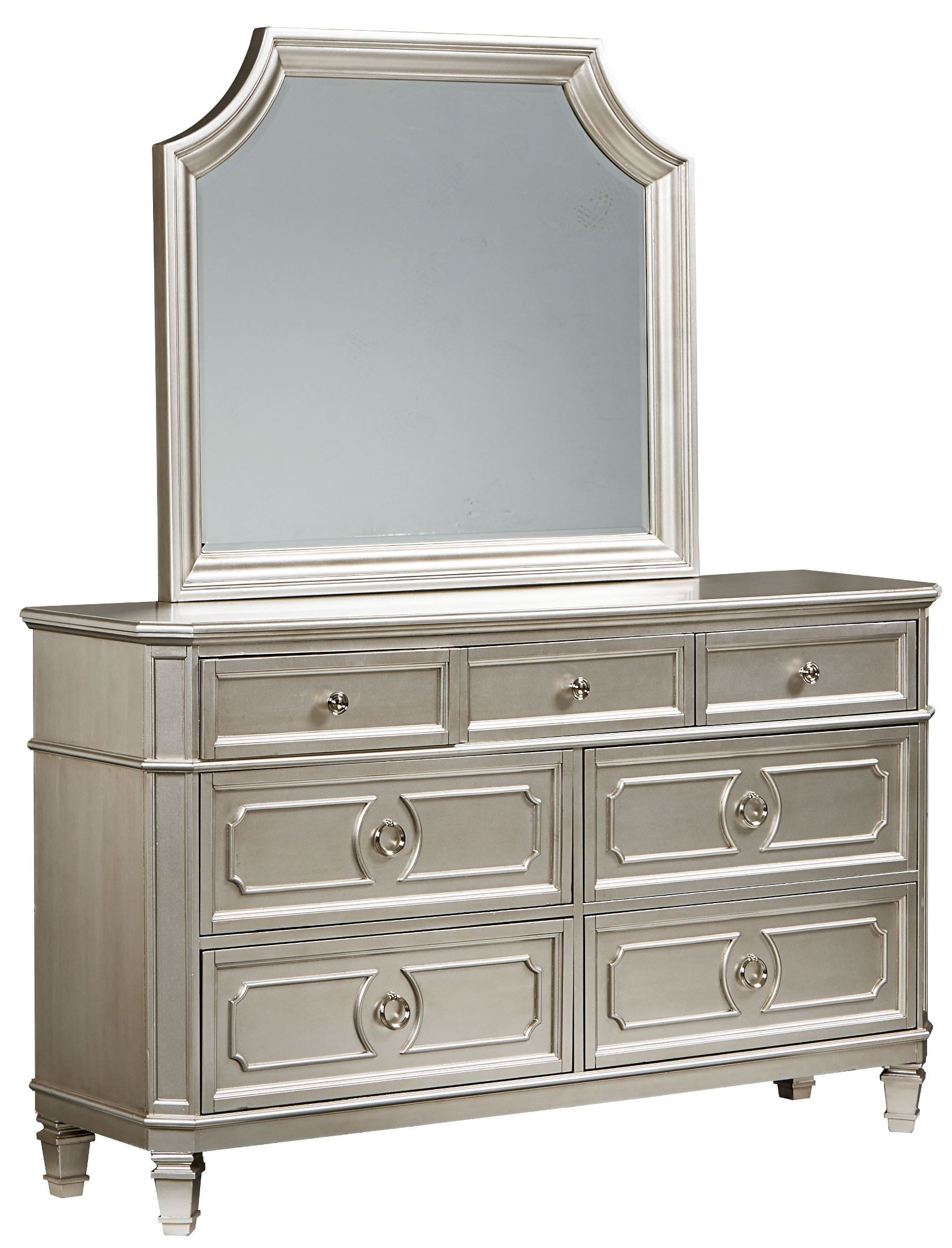 Windsor silver panel bedroom set 873 01 12 04 standard for Silver bedroom furniture