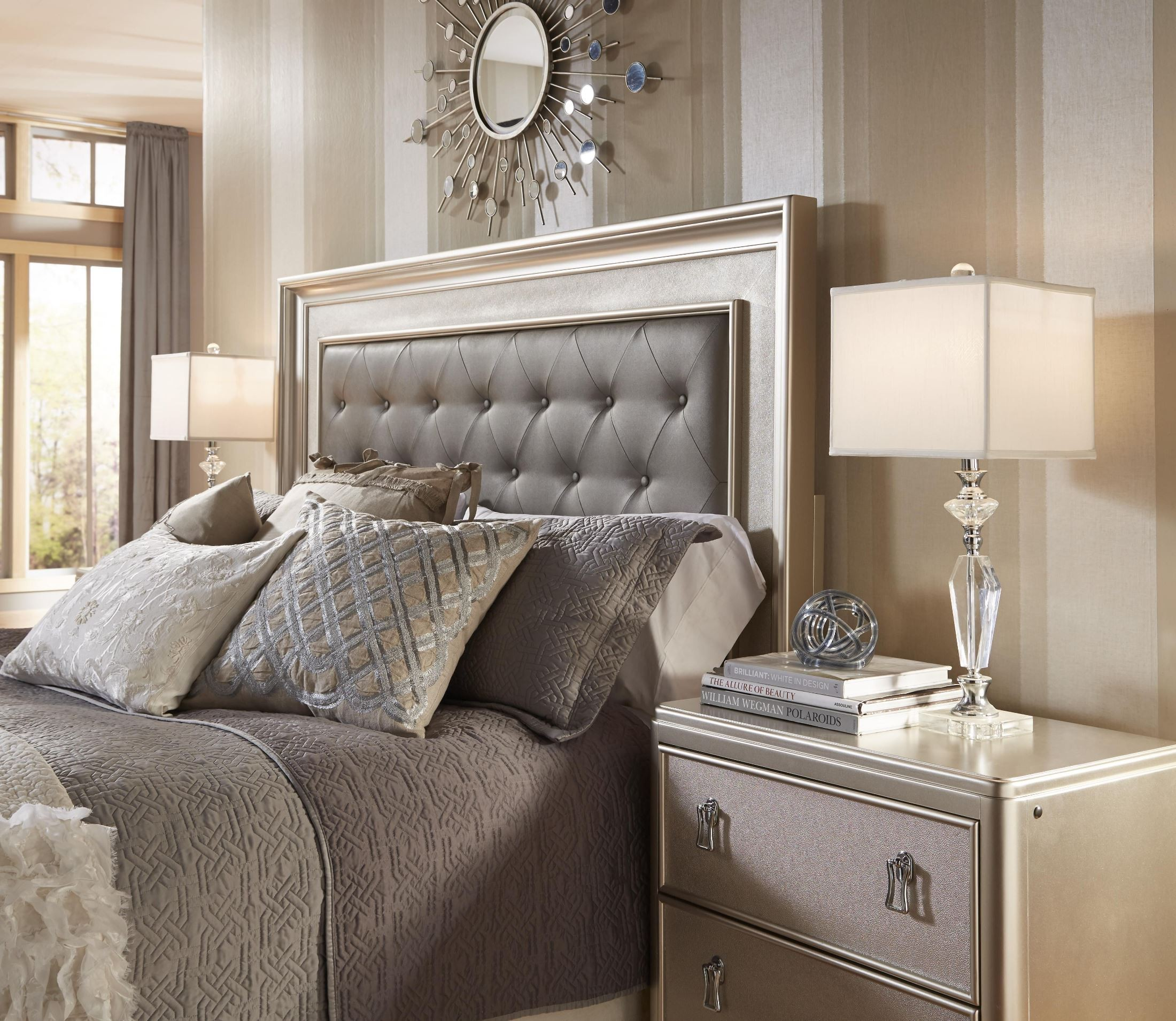 Diva panel bedroom set from samuel lawrence 8808 255 257 for Bedroom ideas queen bed