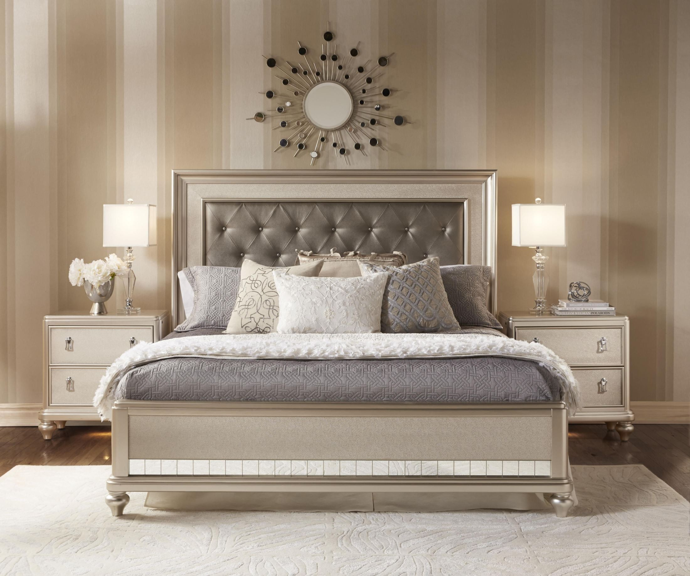 home bedroom furniture bedroom sets diva metallic panel bedroom set