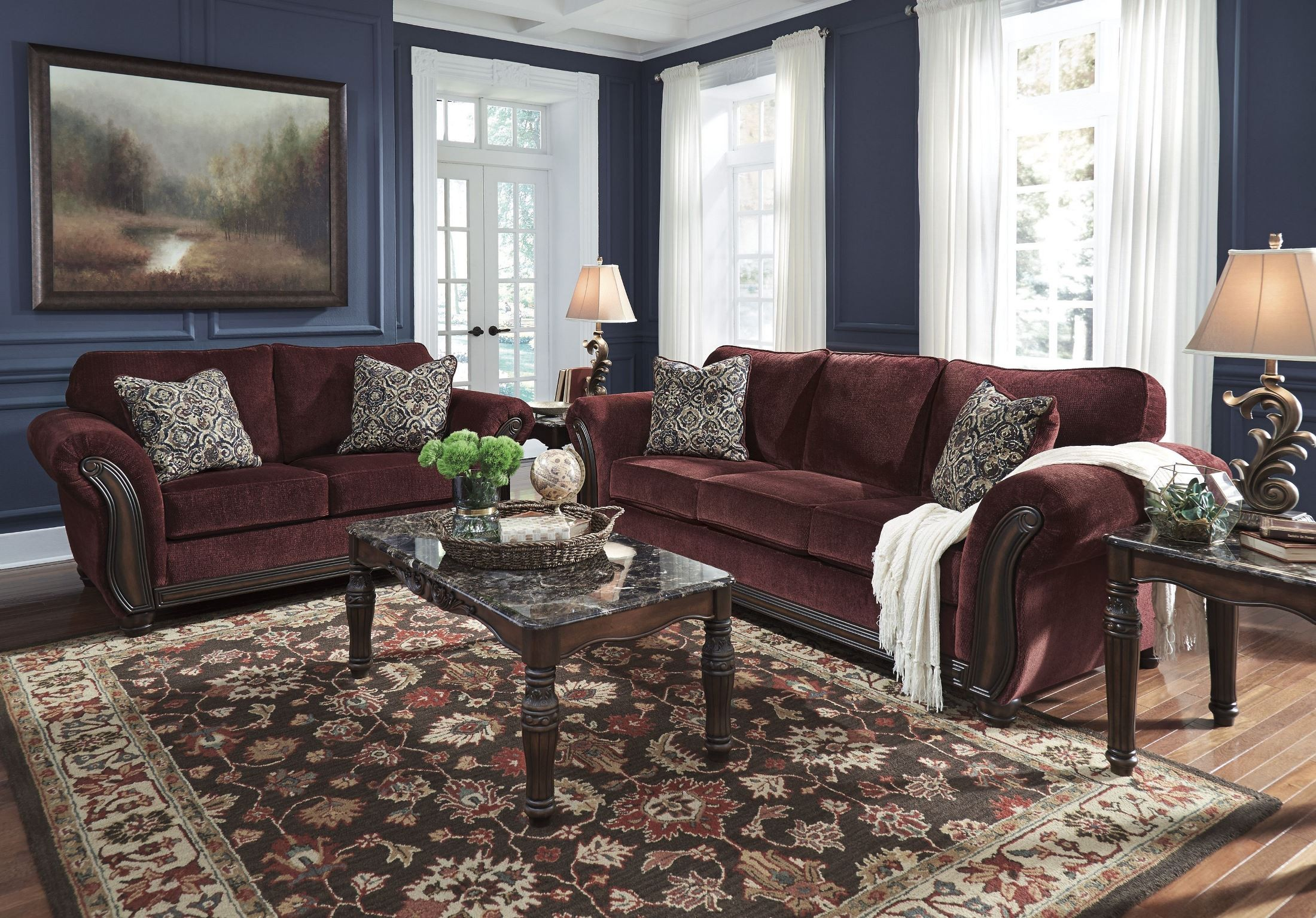 Chesterbrook Burgundy Loveseat From Ashley 8810235 Coleman Furniture