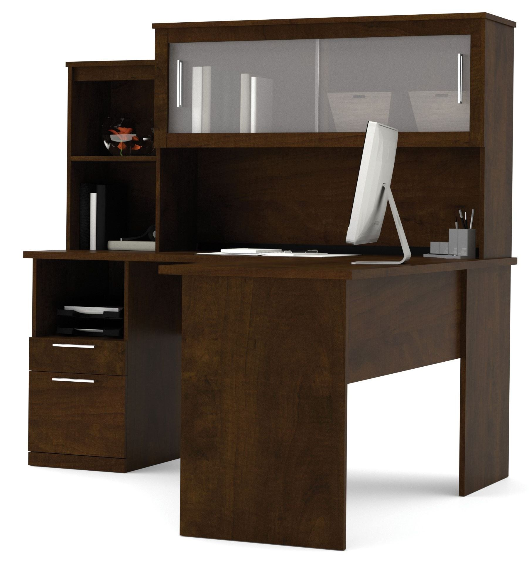 Dayton Chocolate L Shaped Desk From Bestar 88420 69