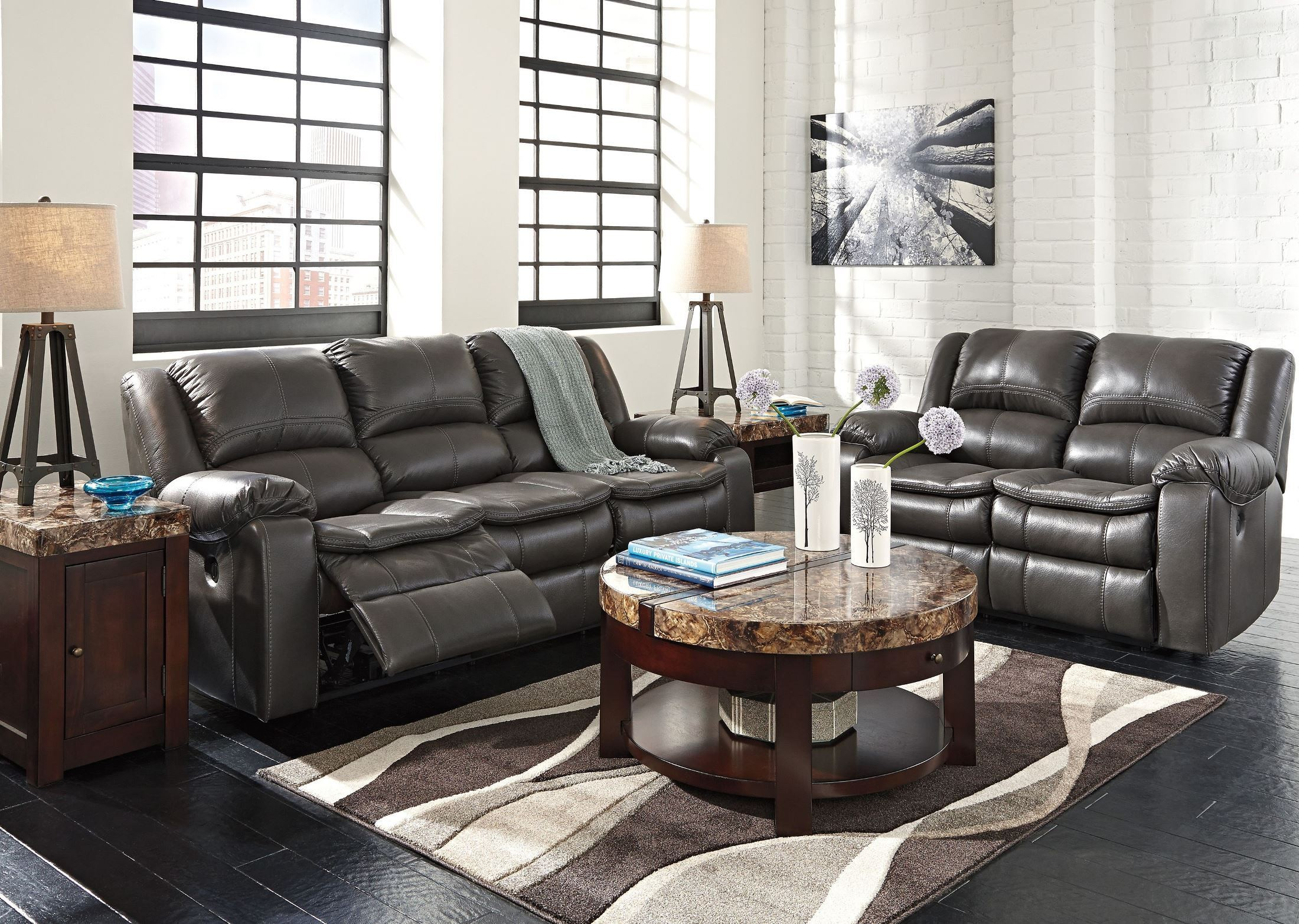 Long knight gray reclining living room set from ashley Reclining living room furniture