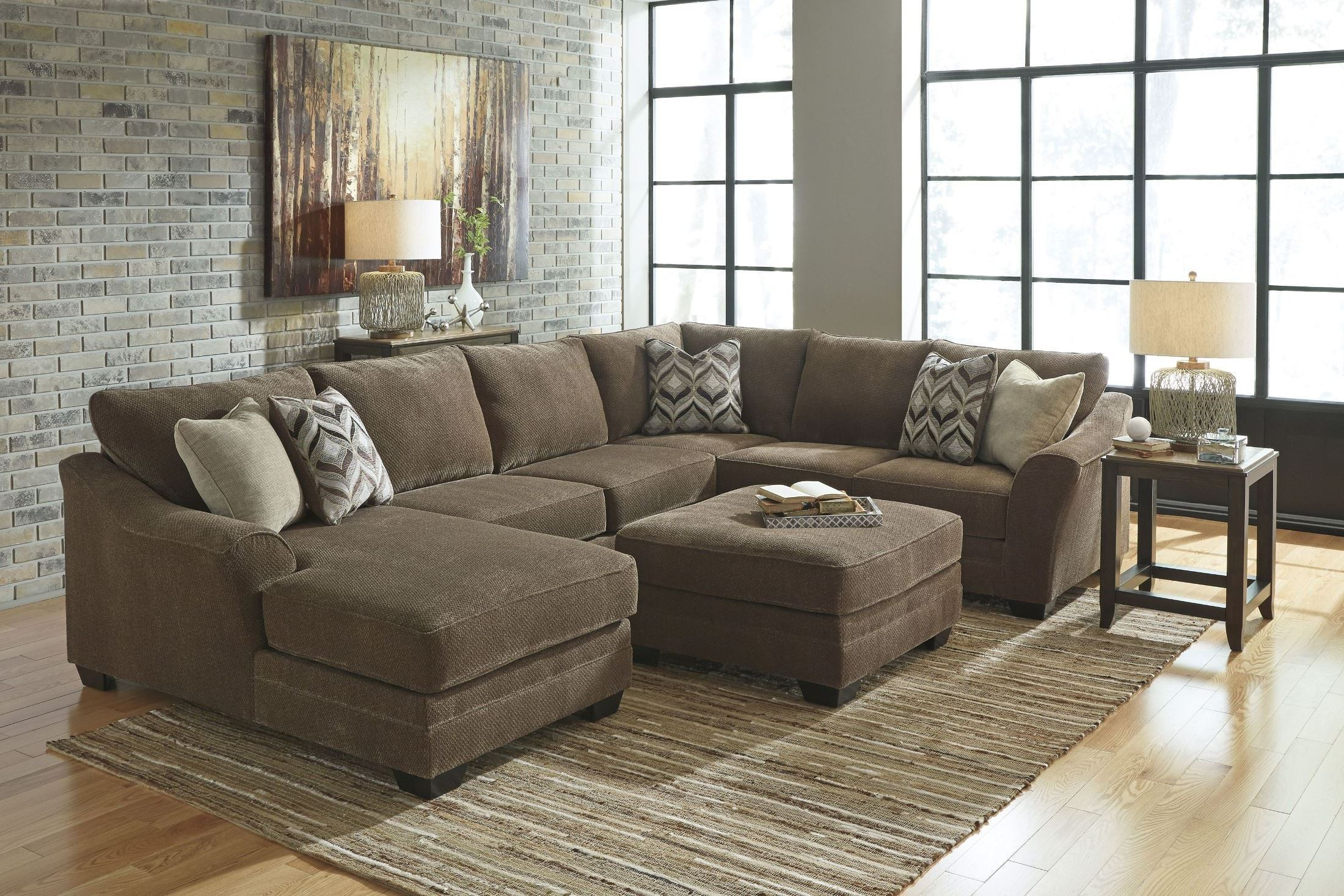 Justyna Teak Laf Sectional From Ashley 8910216 Coleman