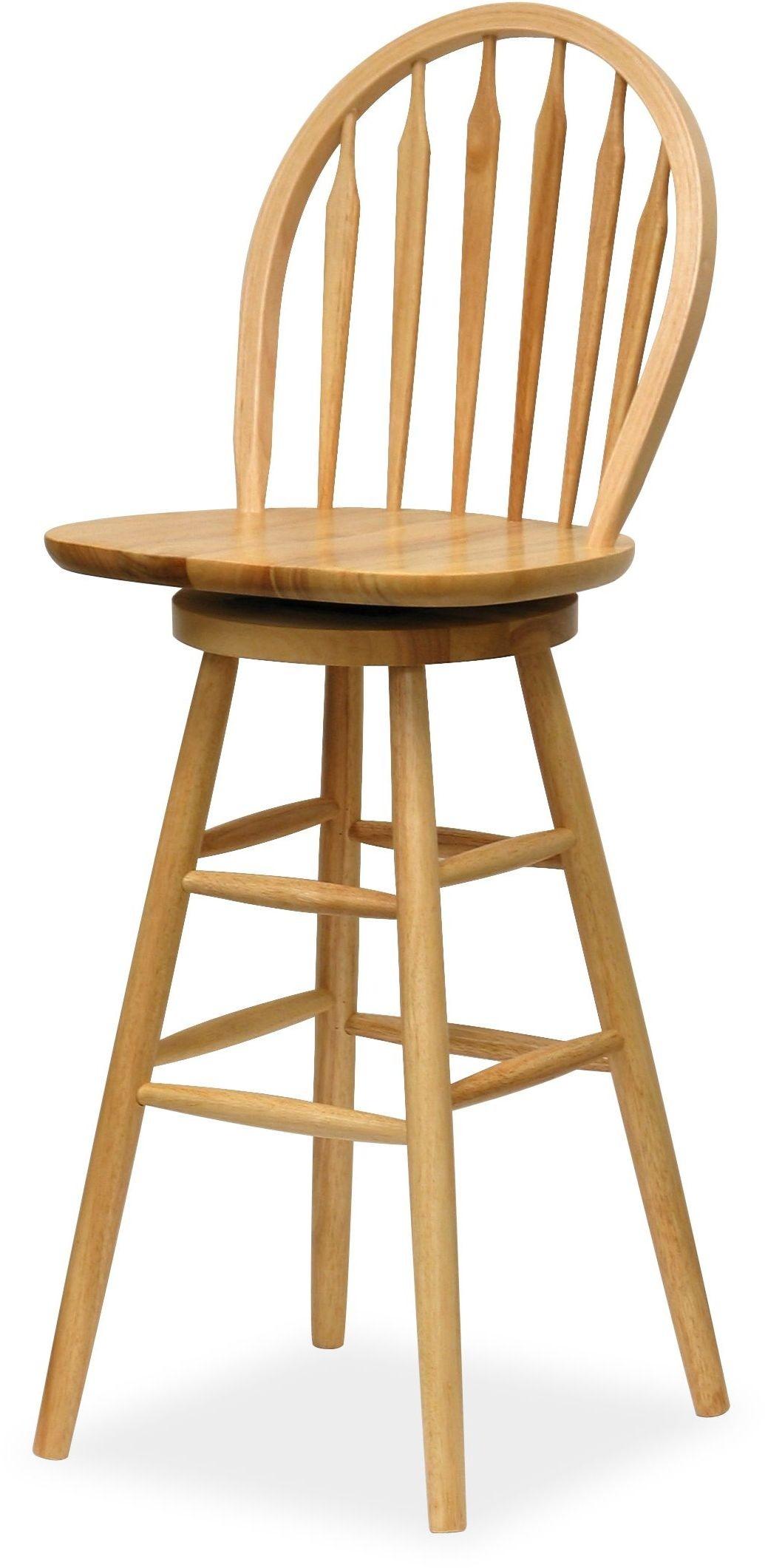 Wagner Beech 30 Quot Windsor Swivel Seat Bar Stool 89630 Winsome