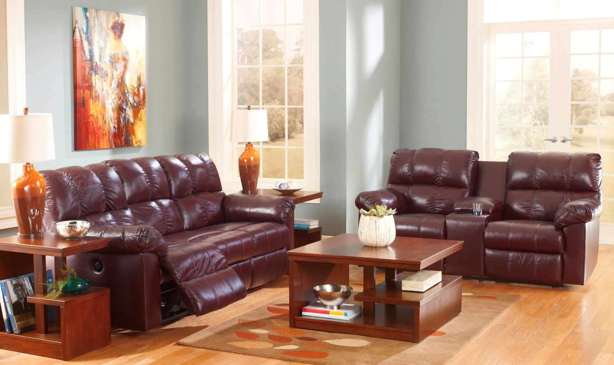 Kennard Burgundy Reclining Living Room Set From Ashley 29000 88 94 Coleman Furniture