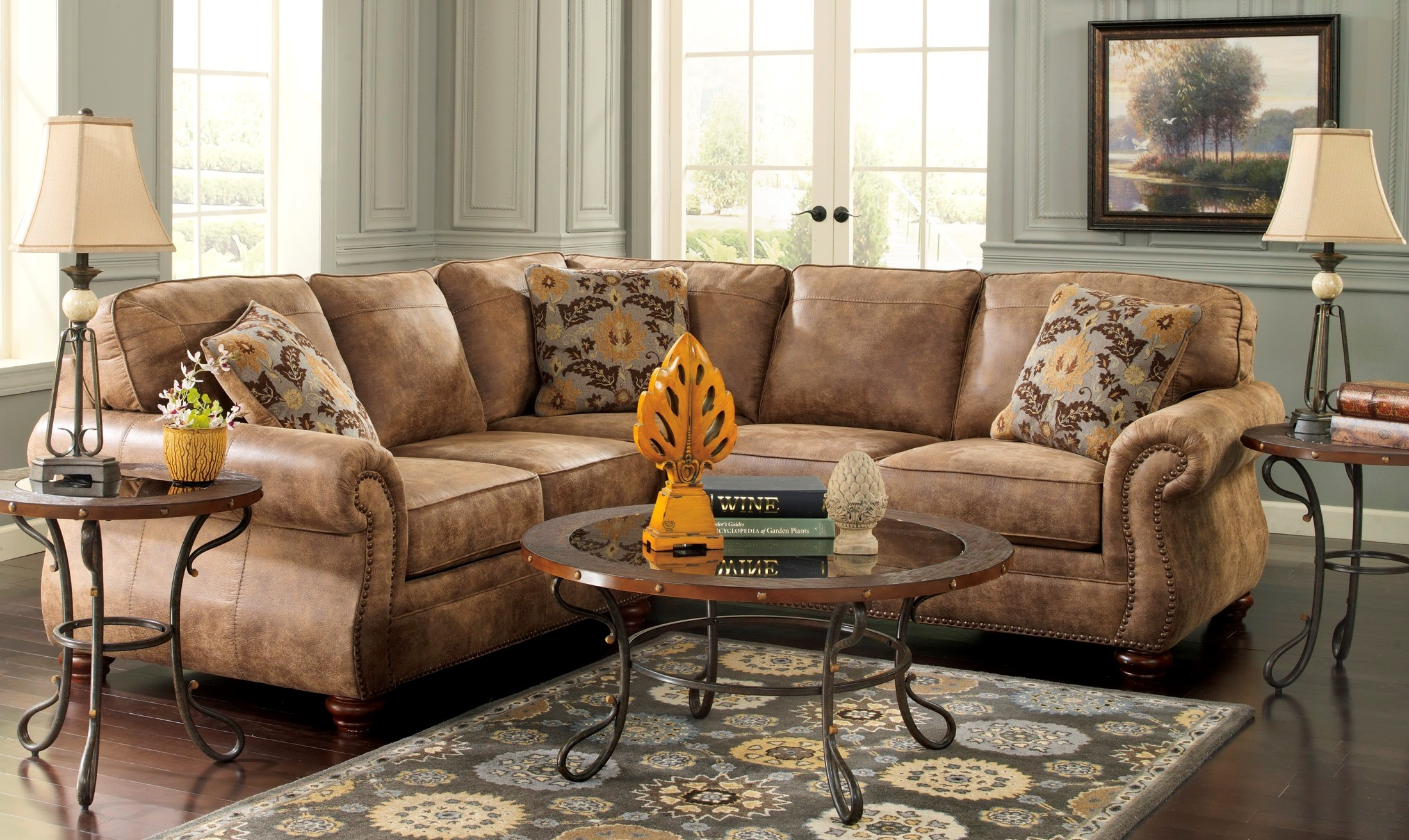 Larkinhurst Earth Laf Sectional From Ashley 31901 55 67 Coleman Furniture