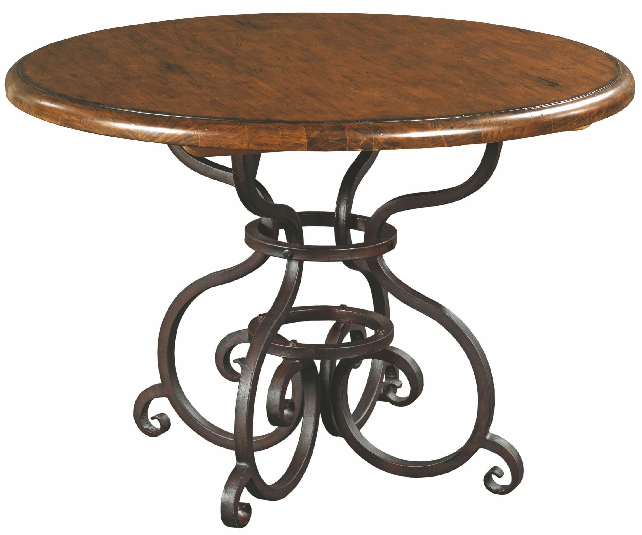artisans shoppe 44 tobacco round dining table with metal base from kincaid 90 2155p coleman. Black Bedroom Furniture Sets. Home Design Ideas