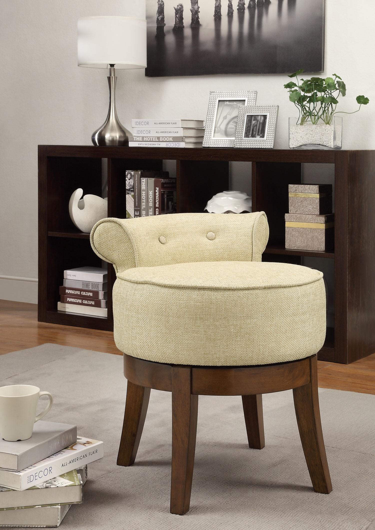Beige vanity stool 900121 coaster furniture - Bedroom vanity chair with back ...