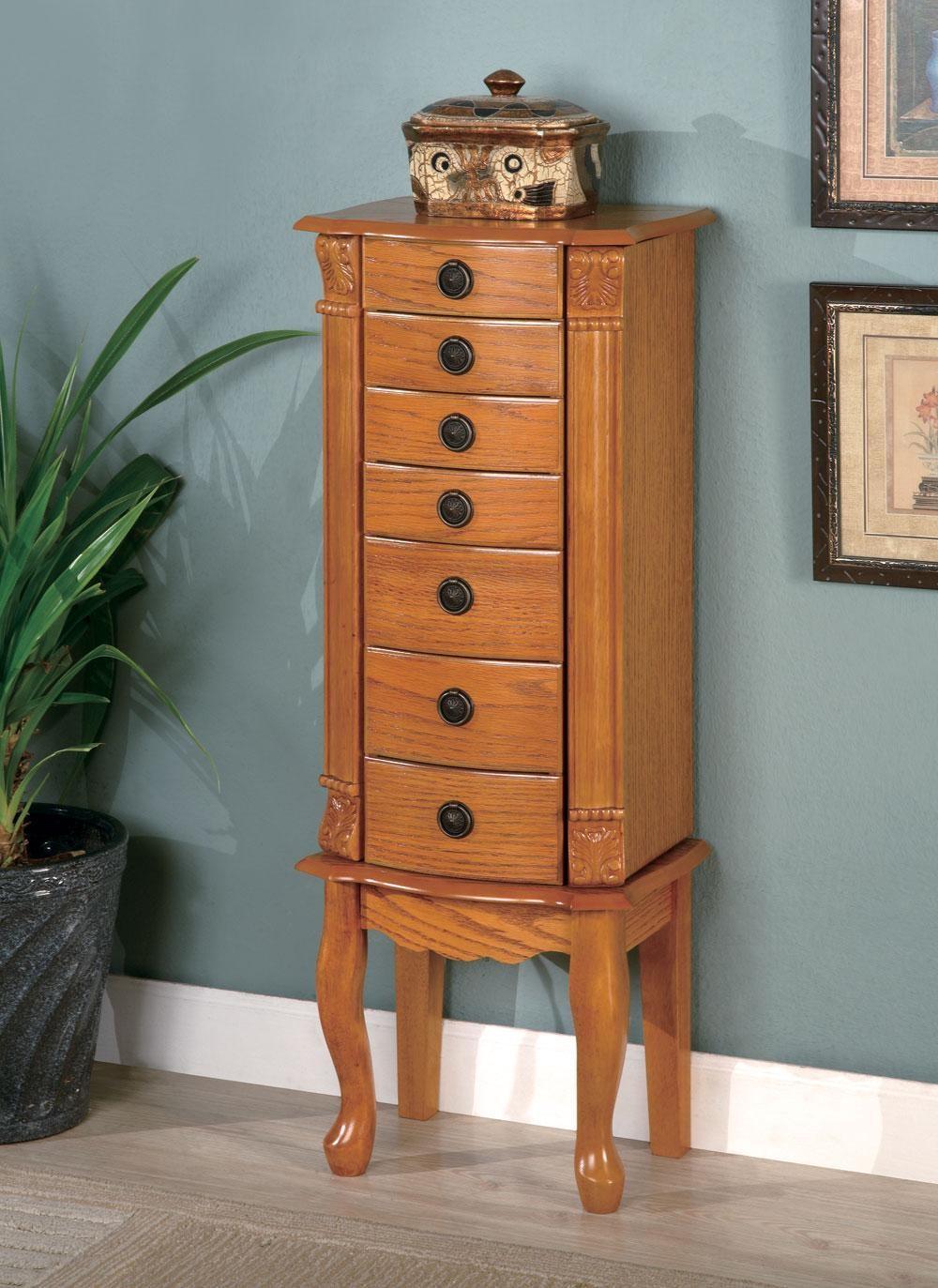 Oak Warm Brown Oak Jewelry Armoire 900135 From Coaster