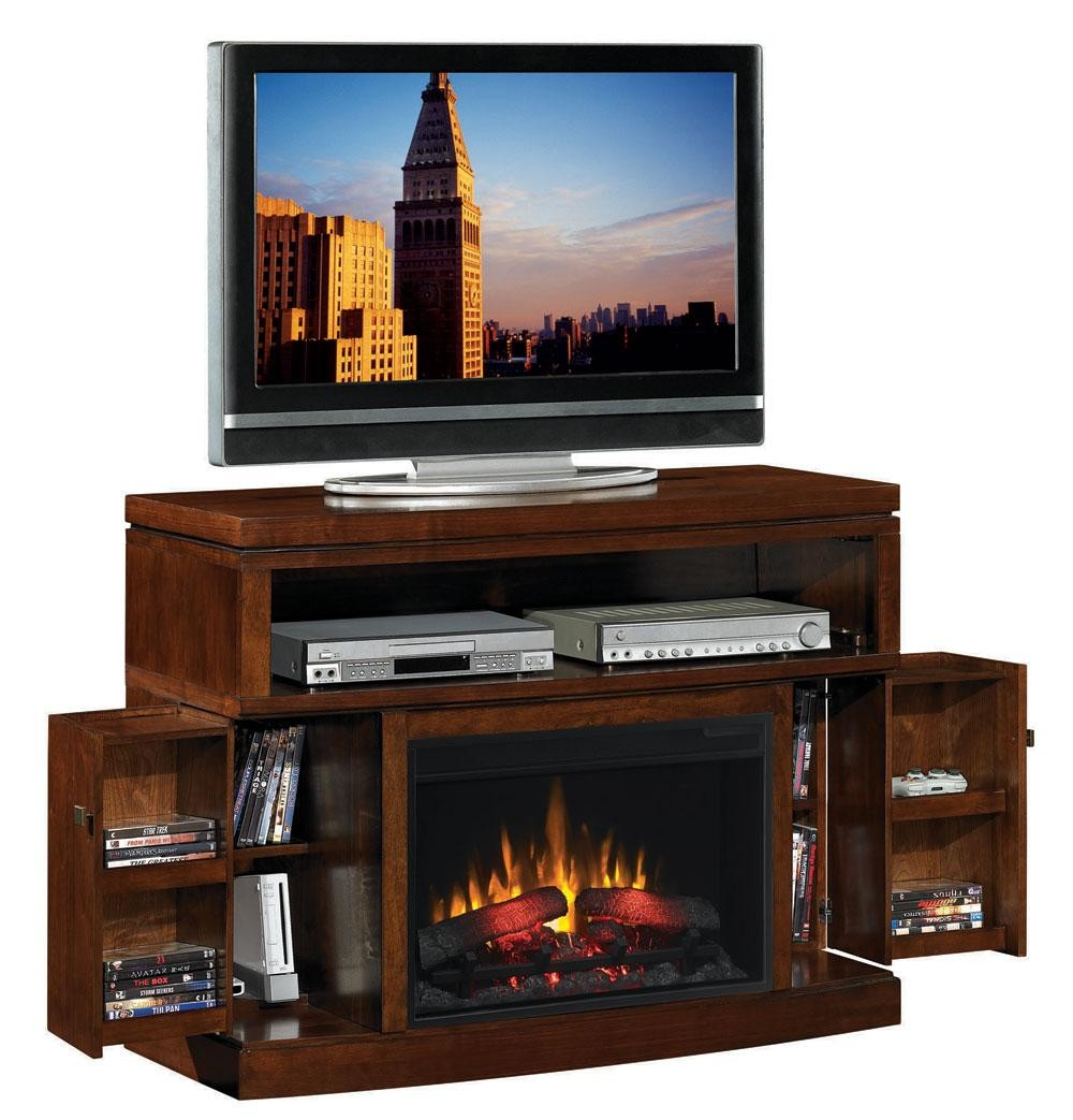 Mahogany Media Console Fireplace N Coaster Furniture