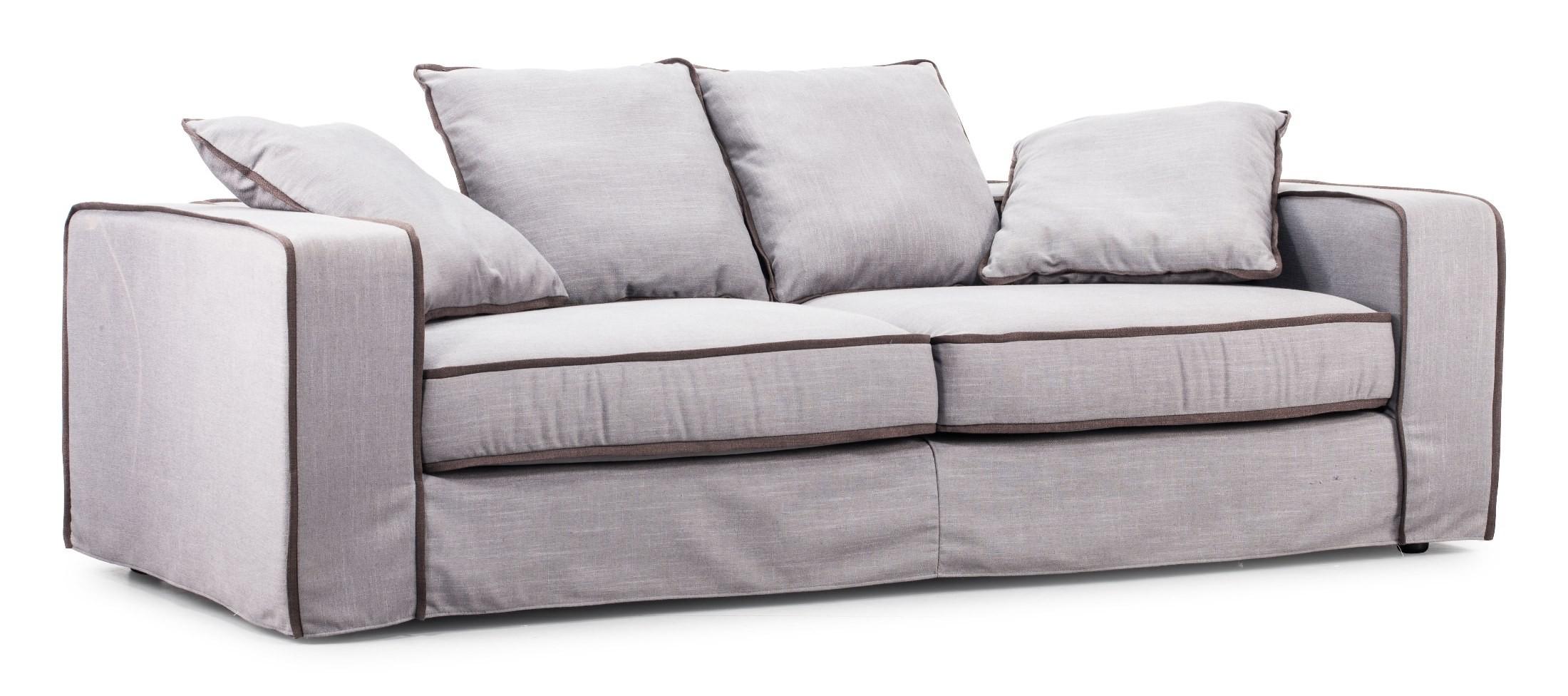 Vasteras Concrete Gray Body Bark Brown Piping Sofa 900611 Zuo Modern