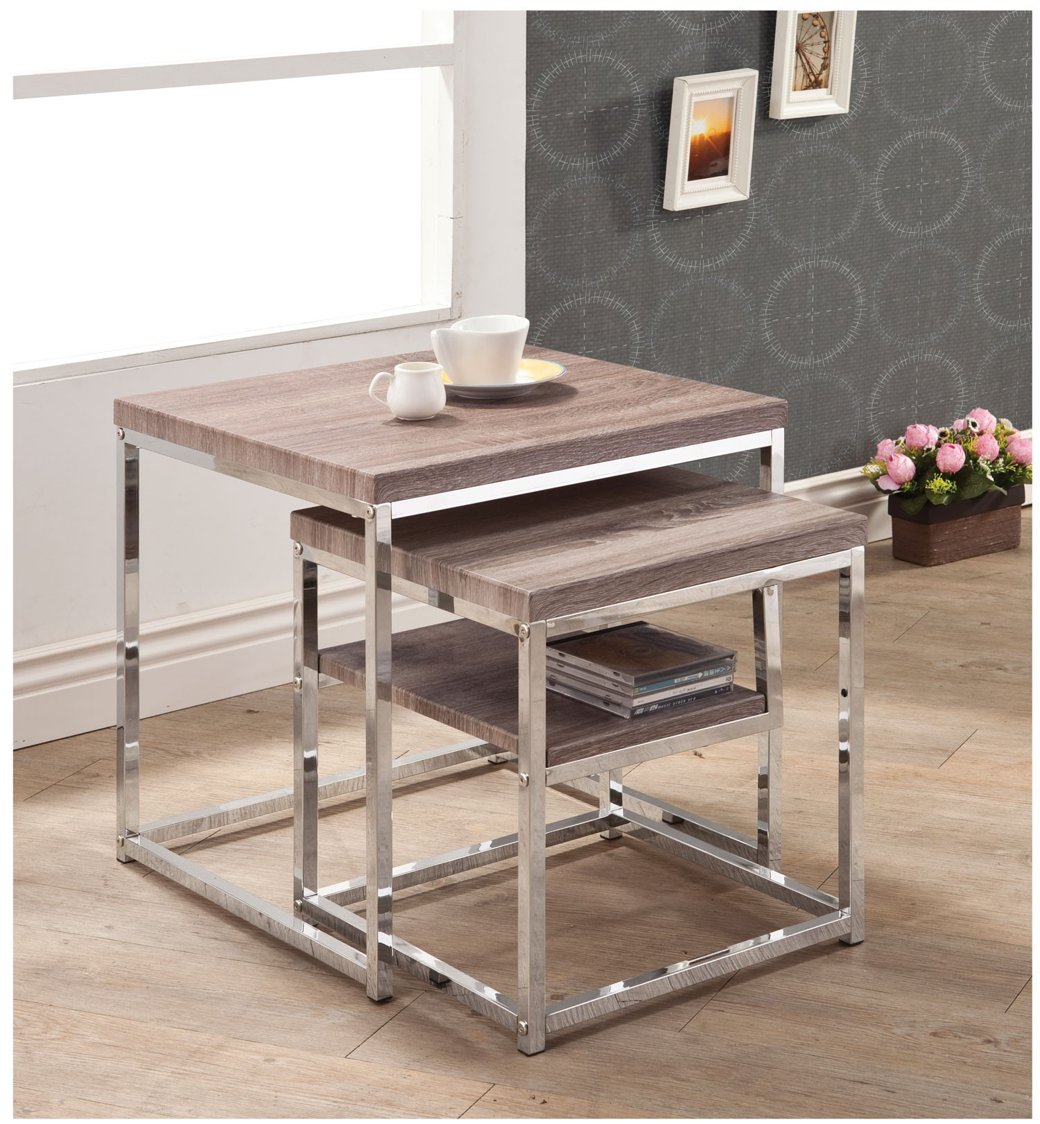 Reclaimed Wood/Chrome Nesting Table 901078 Coaster Furniture. Full resolution  portraiture, nominally Width 1500 Height 1621 pixels, portraiture with #AE871D.