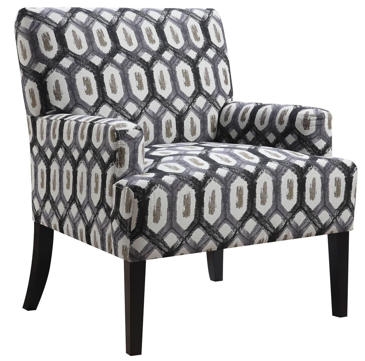 Dark Grey Geometric Pattern Accent Chair From Coaster
