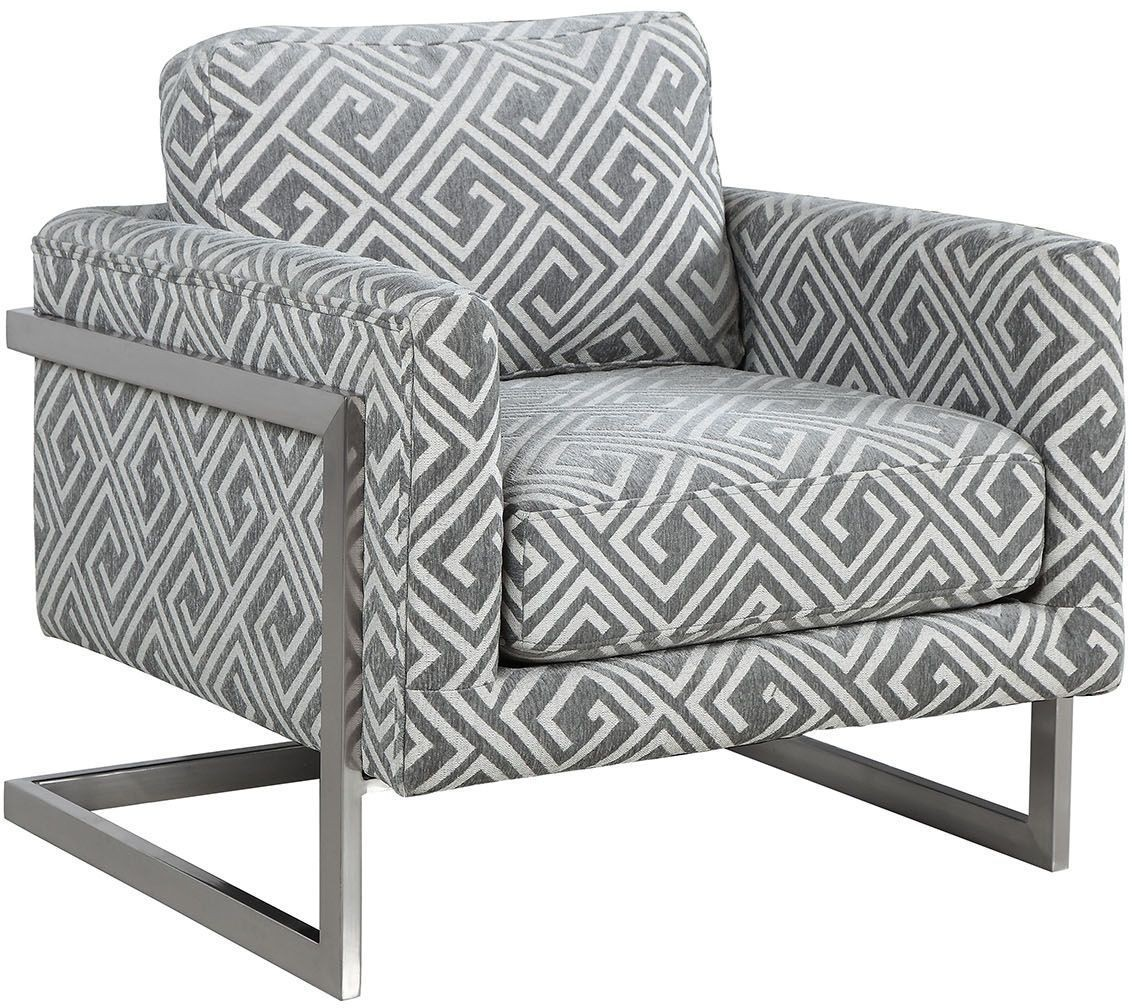 White And Grey Upholstered Accent Chair 902786 Coaster