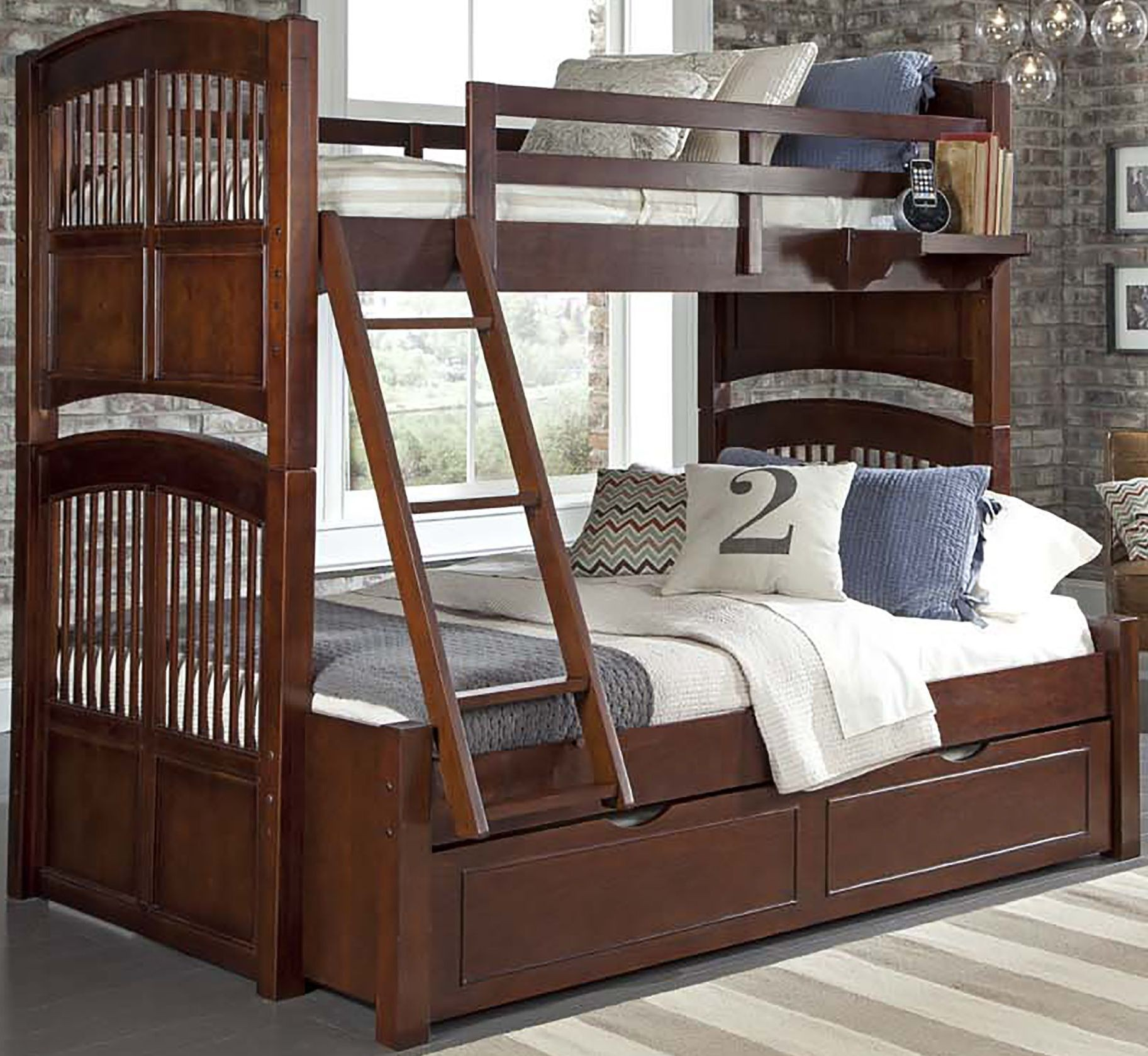 walnut street chestnut hayden twin over full bunk bed with trundle 9055nt ne kids. Black Bedroom Furniture Sets. Home Design Ideas