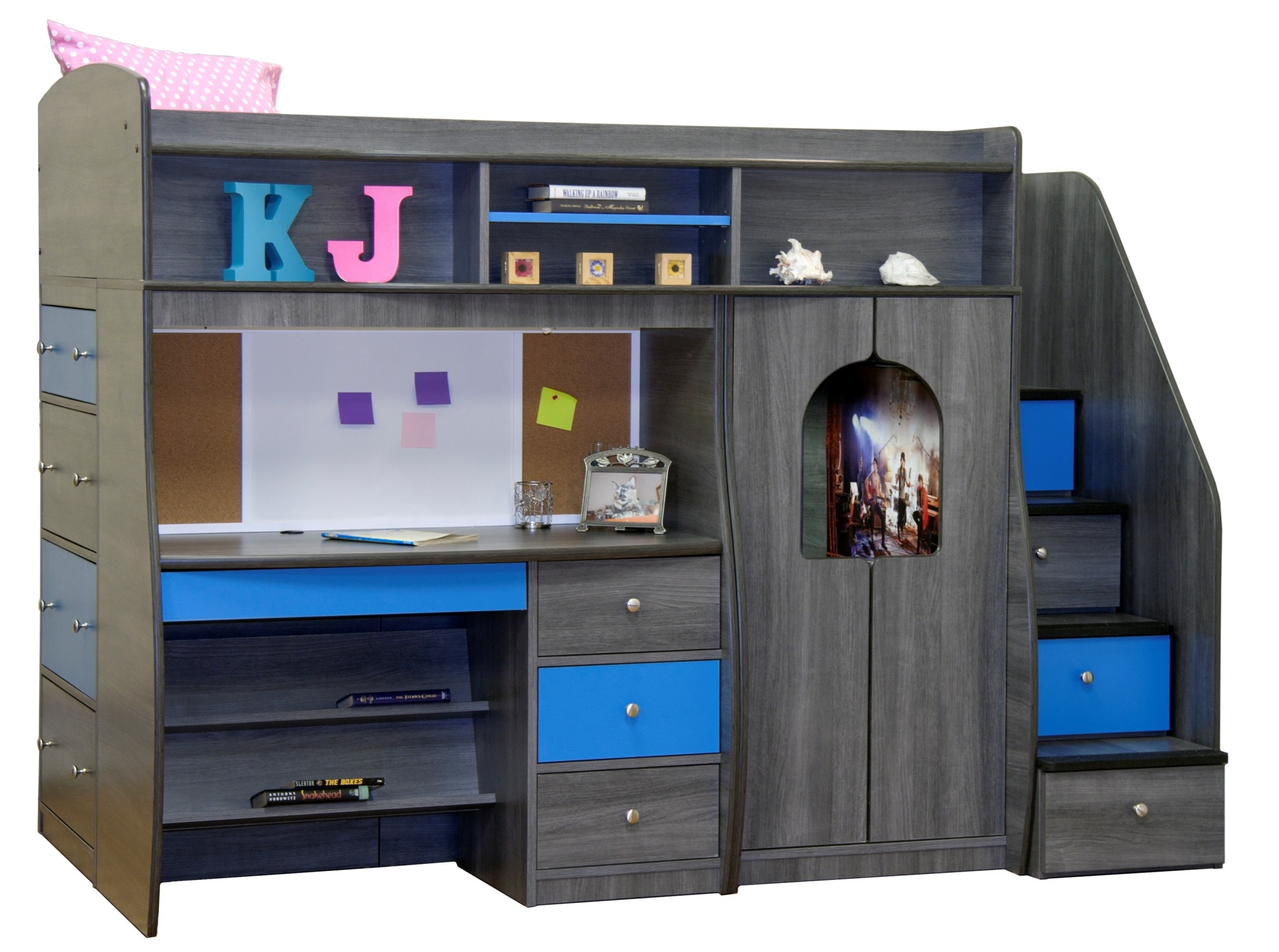 Play study twin loft bed 91 74 berg for Jay be bunk bed