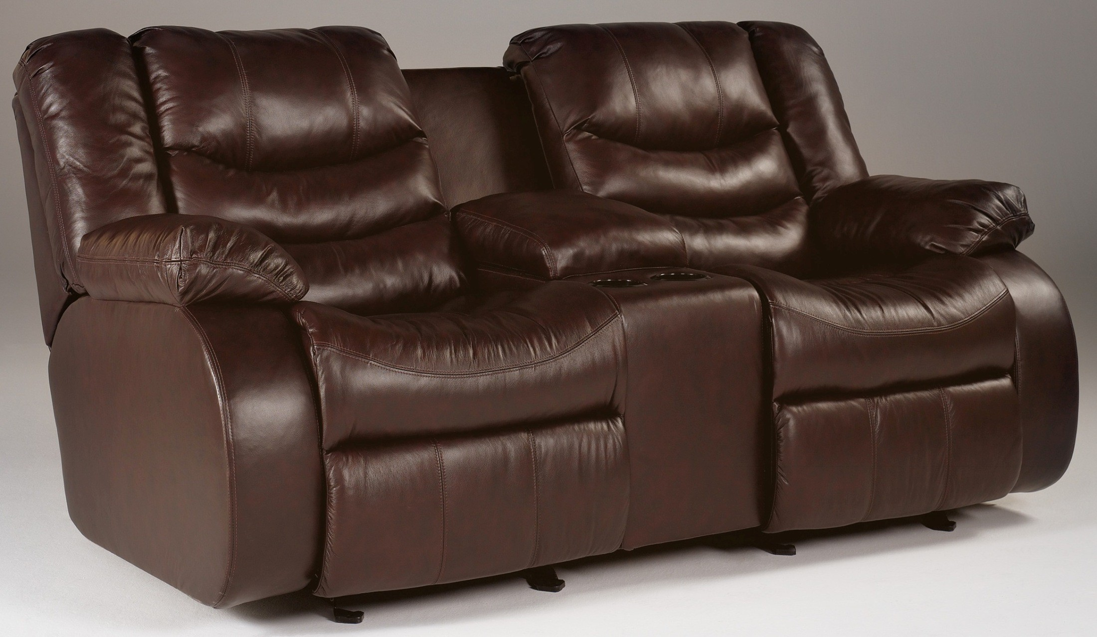 Ashley Revolution Burgundy Double Power Reclining Loveseat With Console