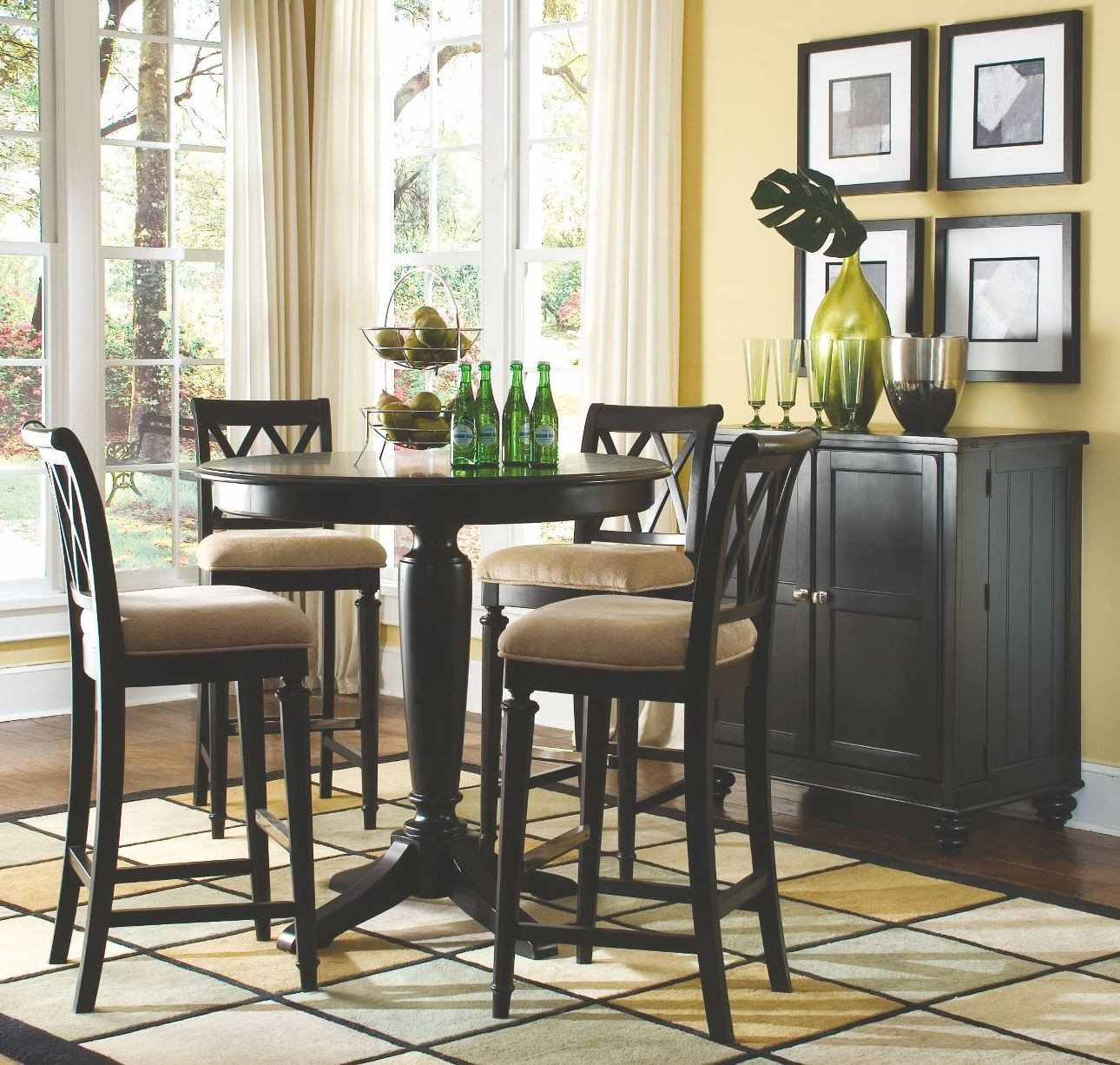 camden black round counter height pedestal dining room set from