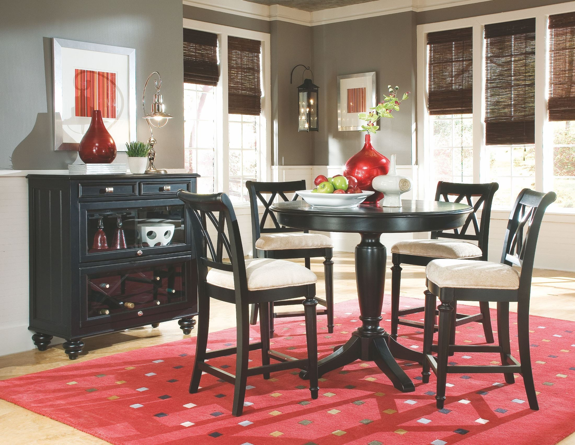 Camden Black Round Counter Height Pedestal Dining Room Set From American Drew