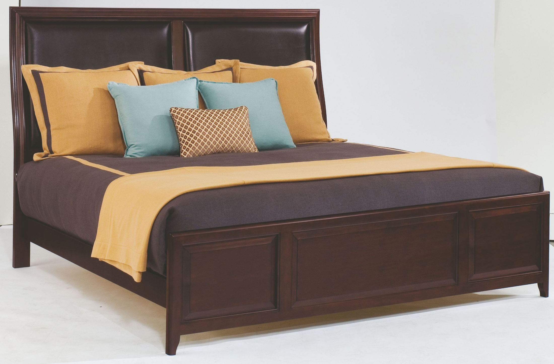 Alston leather king panel bed from kincaid 92 152p for Leather bedroom furniture