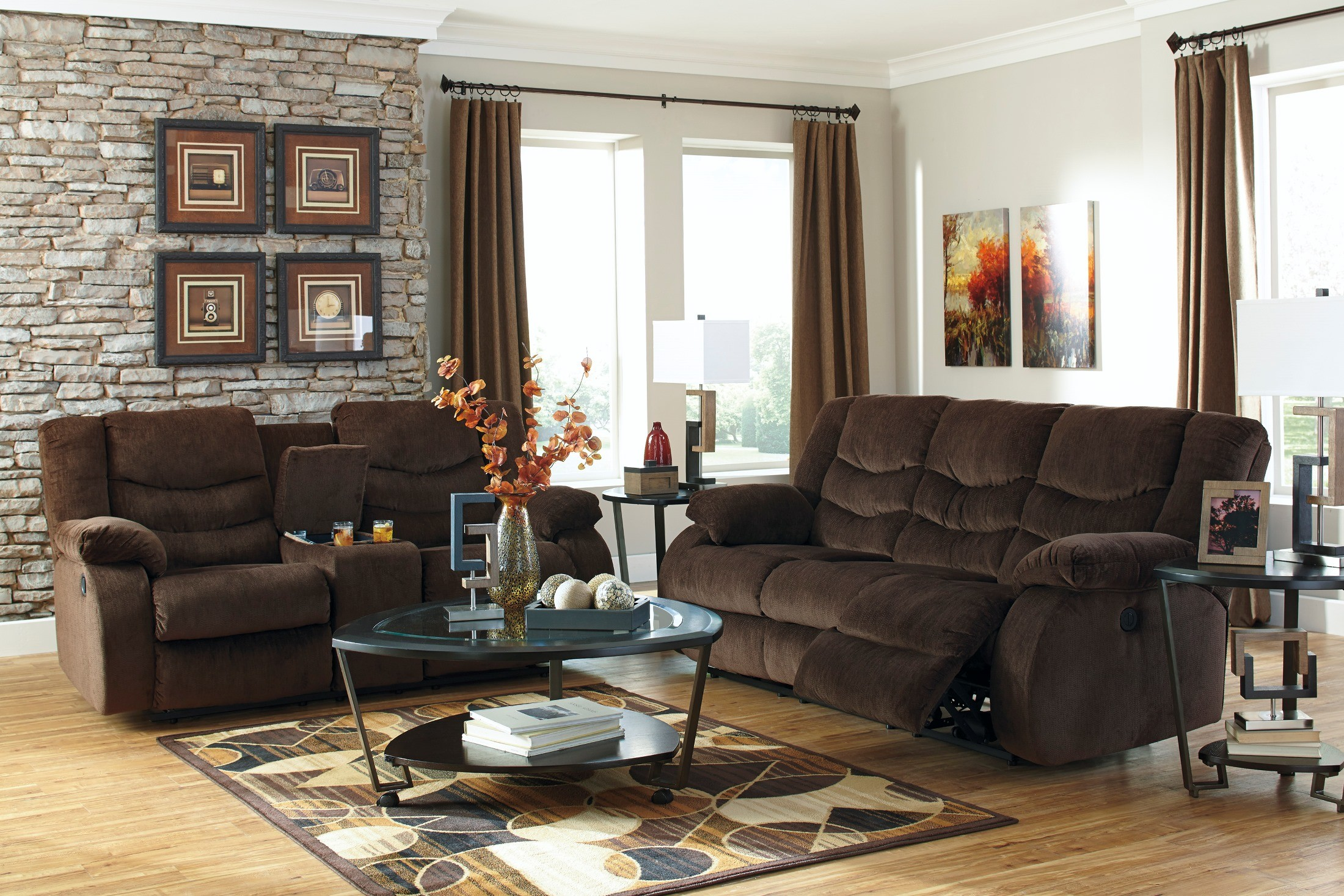 Garek cocoa reclining living room set from ashley 92003 for Living room 94 answers