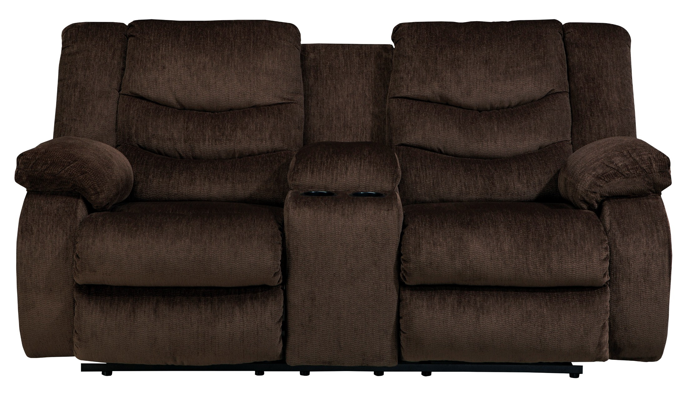 Garek Cocoa Double Reclining Loveseat With Console From Ashley 9200394 Coleman Furniture