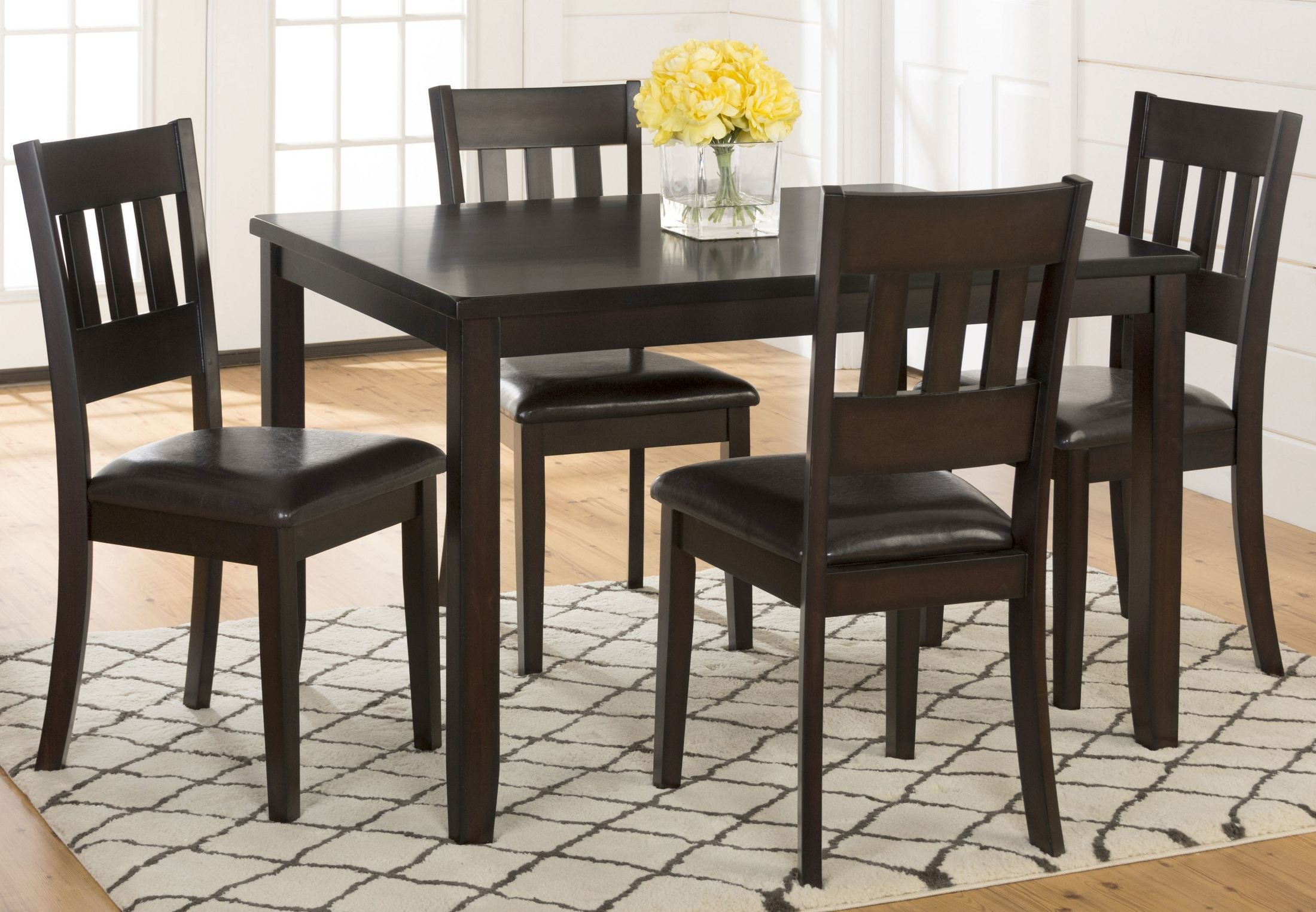 Dark rustic prairie 5 piece dining room set 922 jofran for 5 piece dining room sets