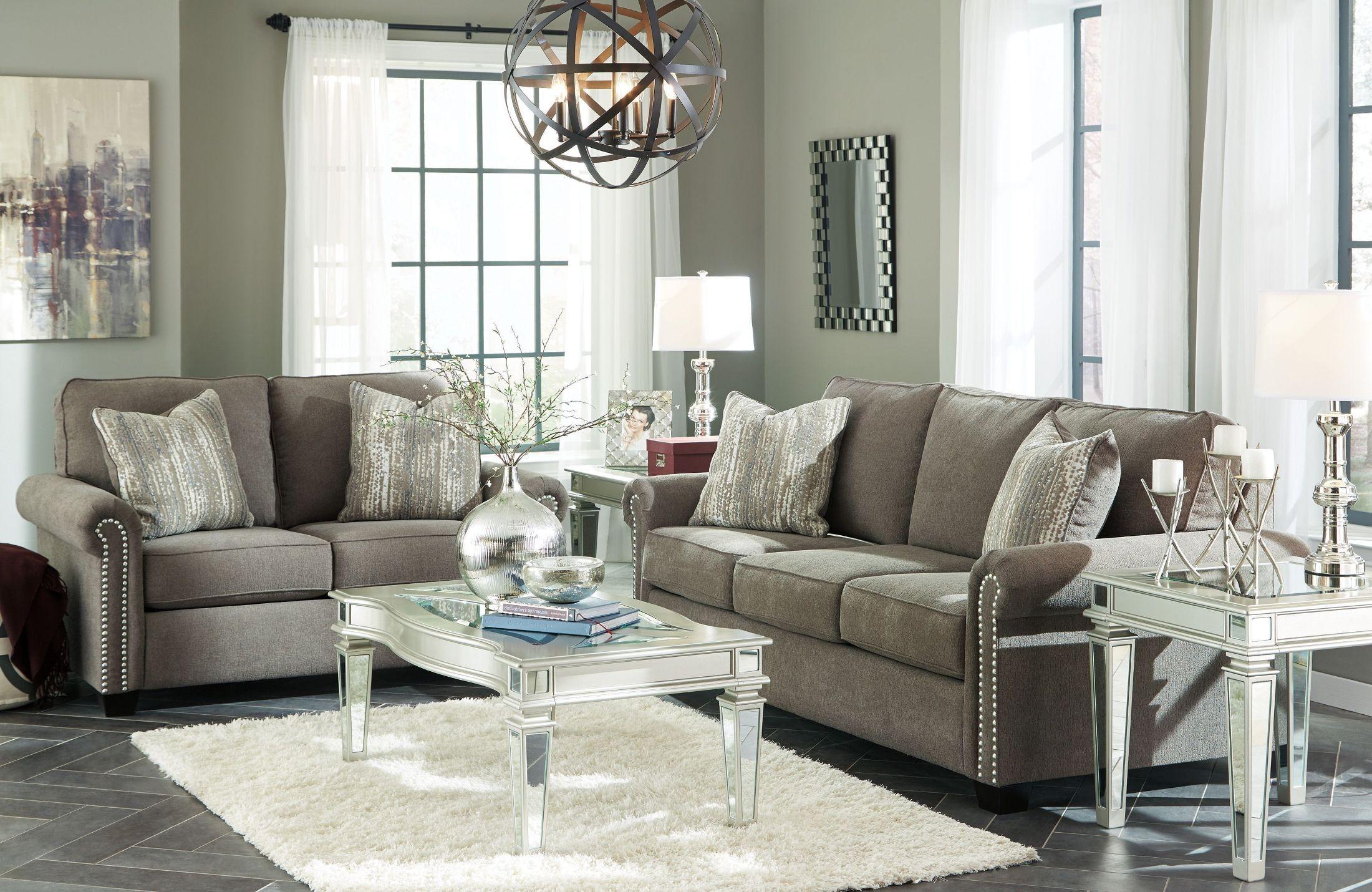 Gilman charcoal living room set 9260238 ashley for Charcoal living room furniture