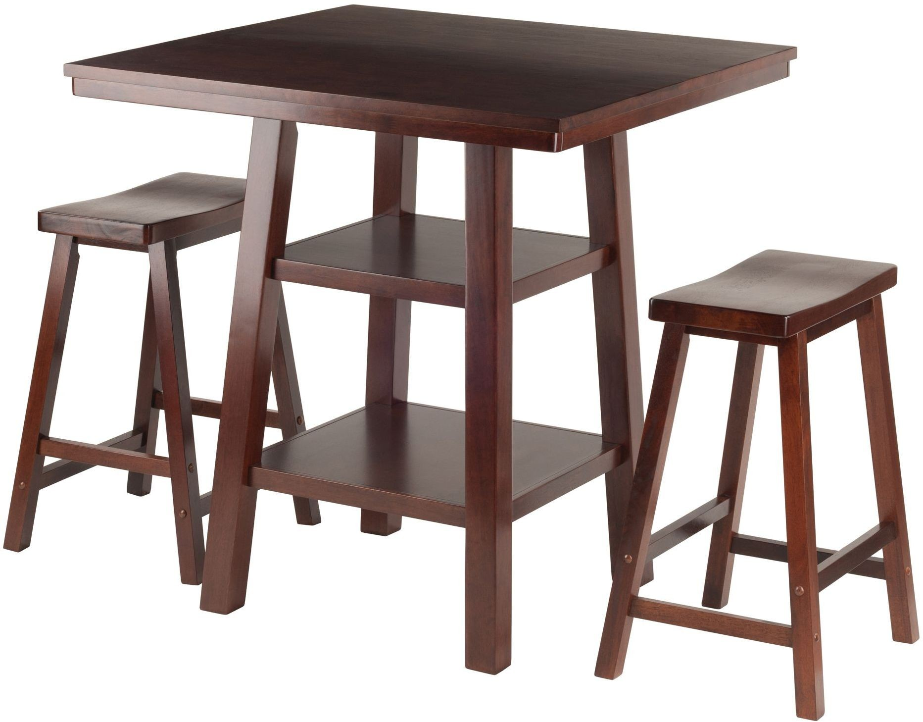 Orlando 3 Piece Walnut Counter Height Dining Set With