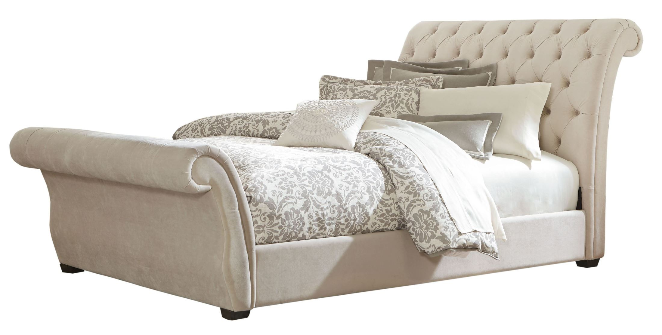 Waverly taupe king upholstered bed 94513 14 standard for Furniture 94513