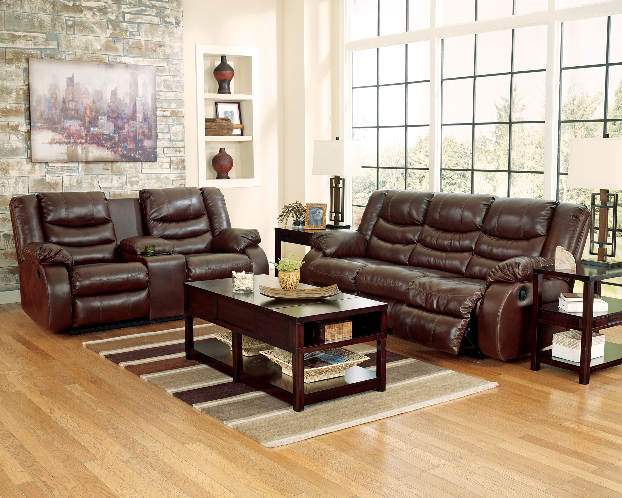 Leather Reclining Living Room Sets Linebacker Durablend Espresso Reclining Living Room Set From