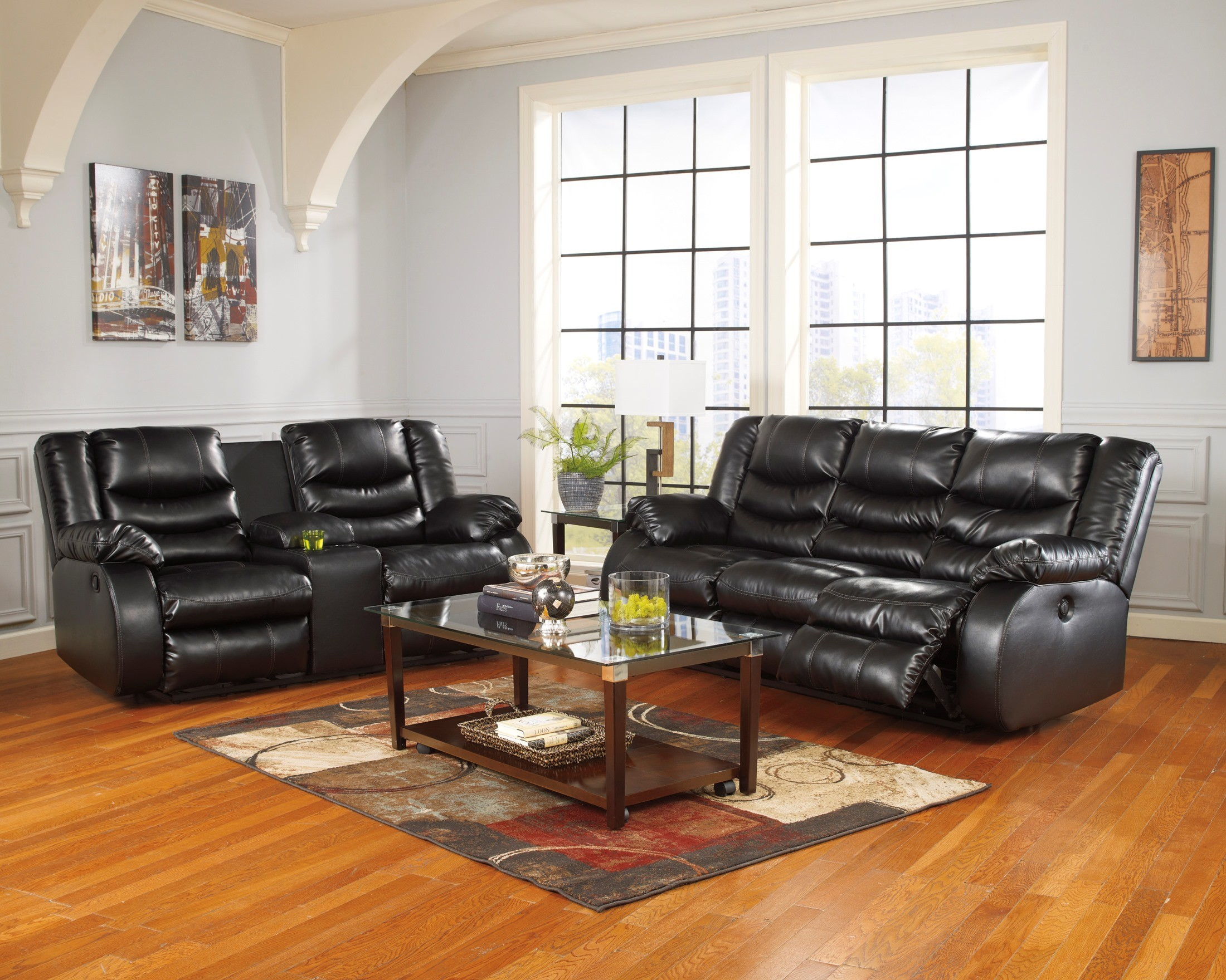 Linebacker durablend black reclining living room set from for Black front room furniture