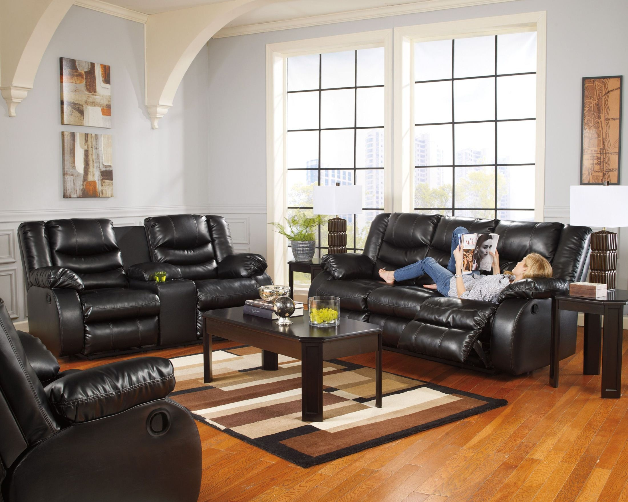 linebacker durablend black reclining living room set from ashley