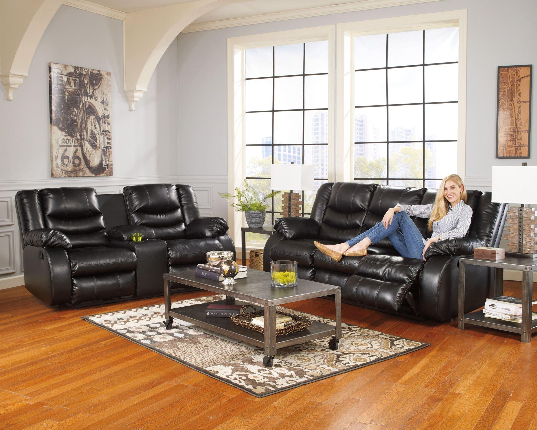 Linebacker durablend black reclining living room set from for Living room 94