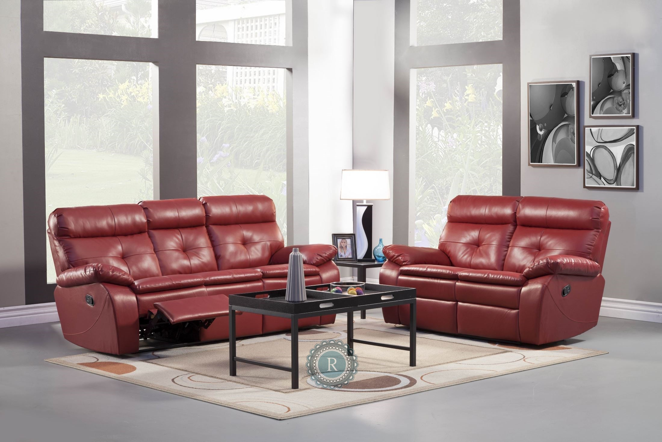 wallace red living room set 9604red 3 2 homelegance. Black Bedroom Furniture Sets. Home Design Ideas