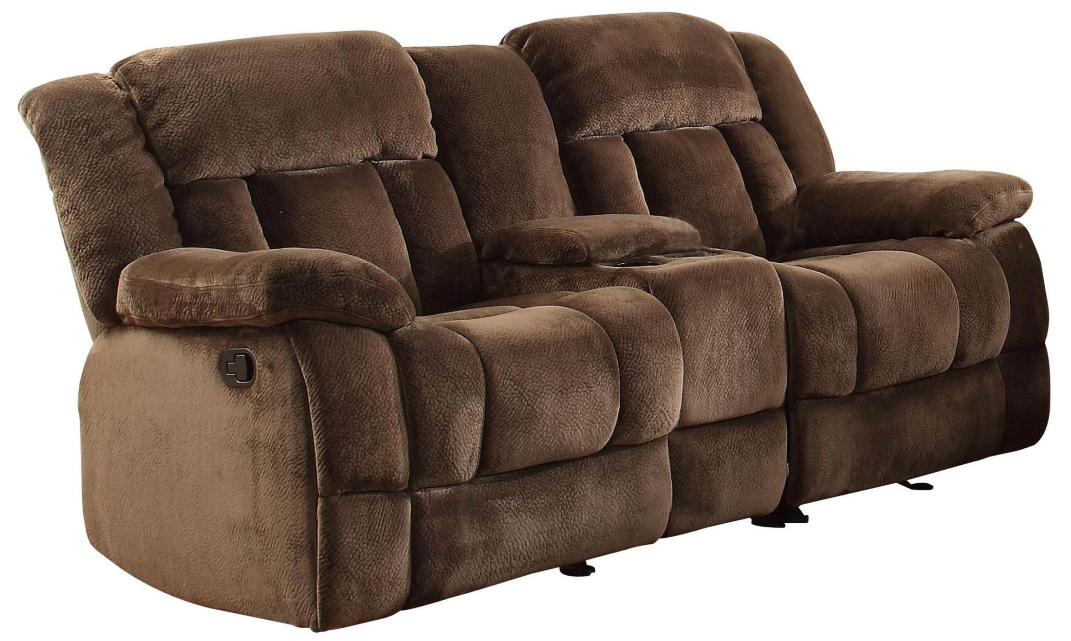 Laurelton chocolate double glider reclining loveseat with console from homelegance 11689 Reclining loveseat with center console