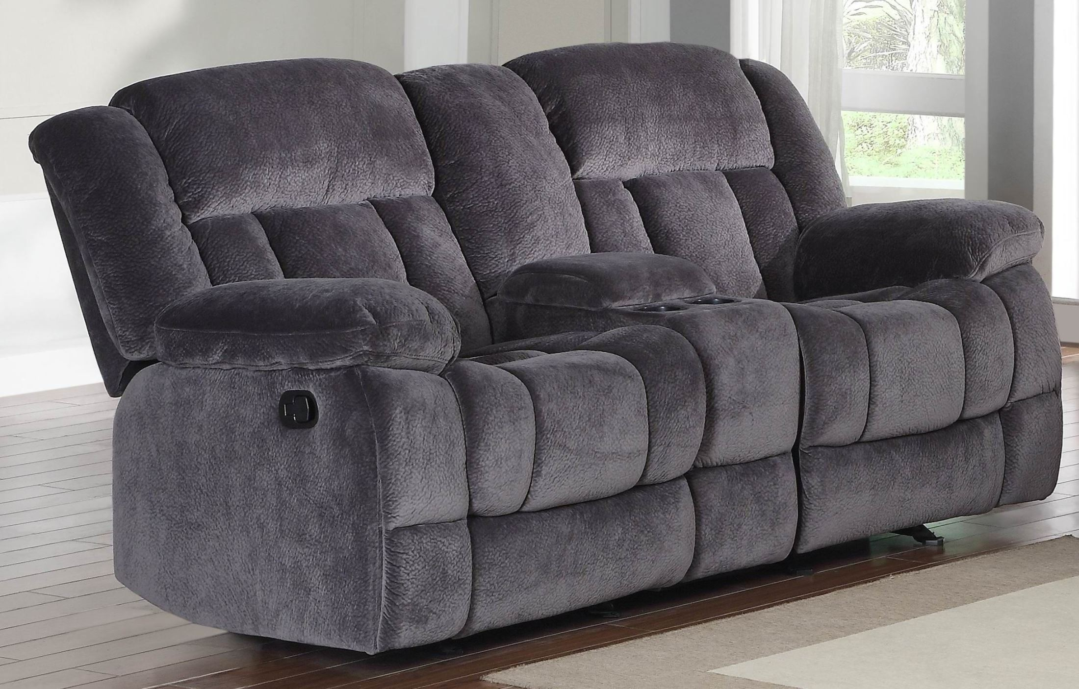 Laurelton Doble Glider Reclining Loveseat With Center Console From Homelegance 9636cc 2