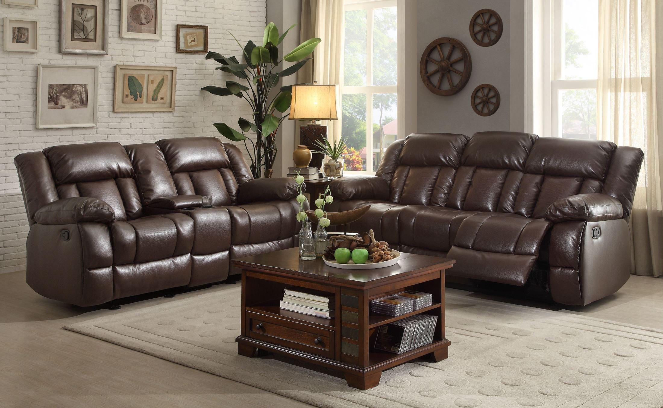 laurelton chocolate double reclining living room set 9636 3