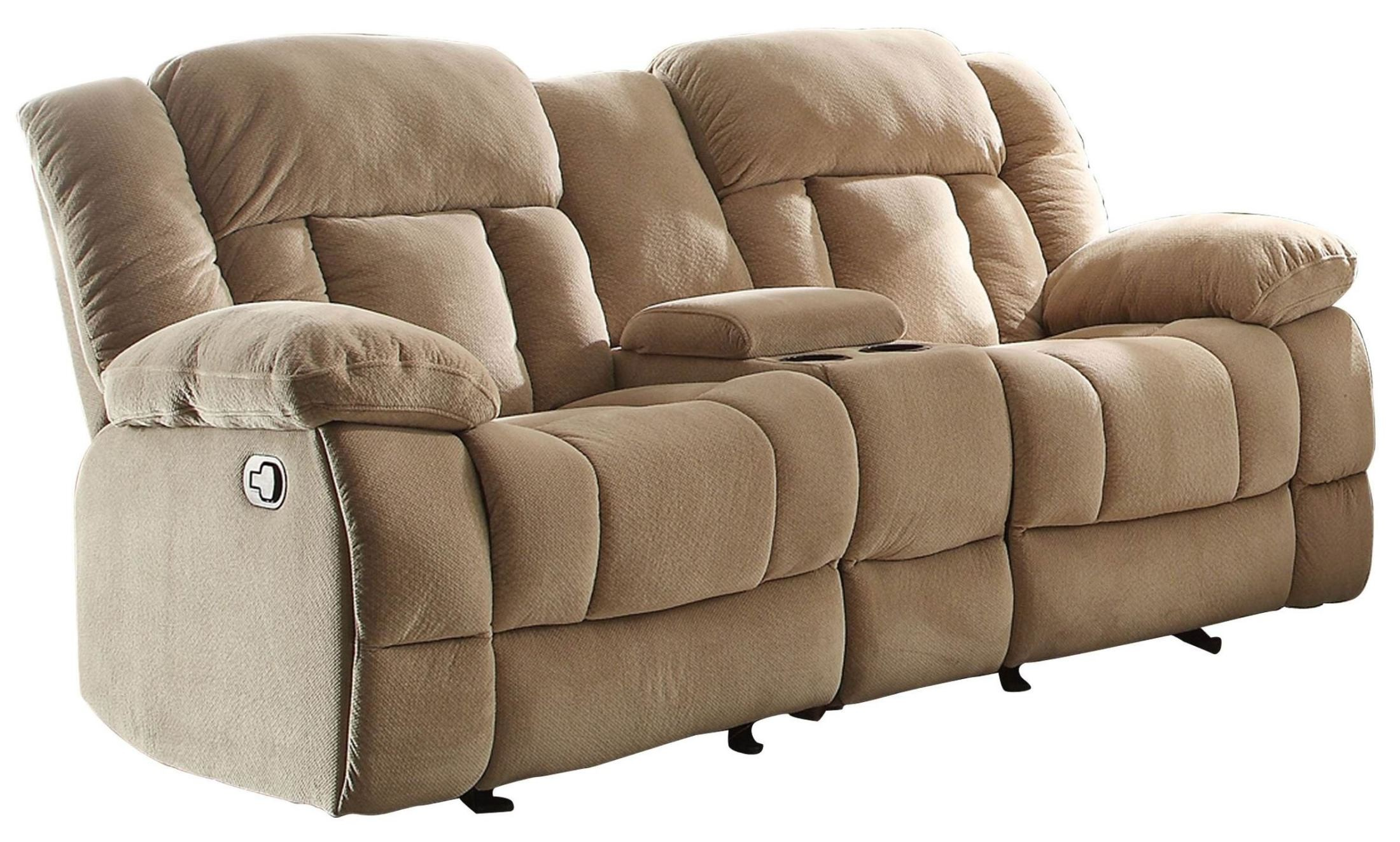 Laurelton Taupe Double Glider Reclining Loveseat With Console From Homelegance 9636nf 2