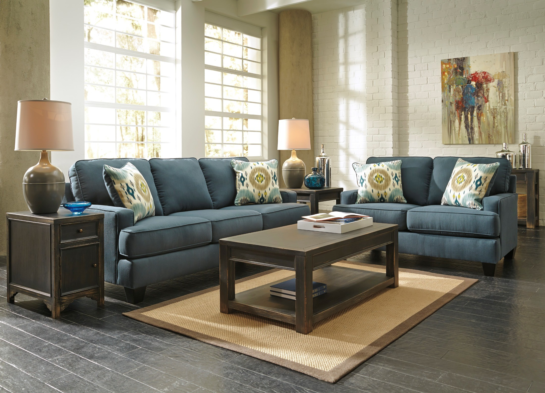 Brileigh Teal Queen Sofa Sleeper 9660139 Ashley Furniture