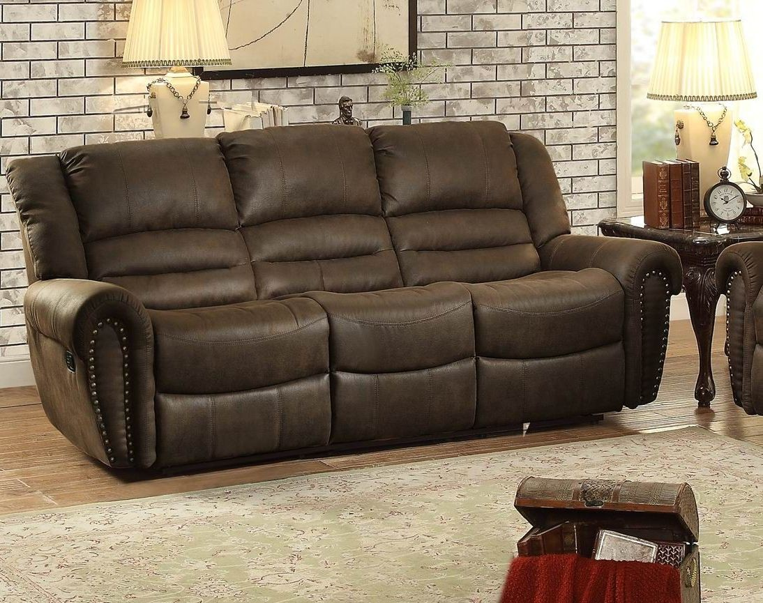 Center Hill Brown Double Reclining Sofa 9668bjt 3 Homelegance