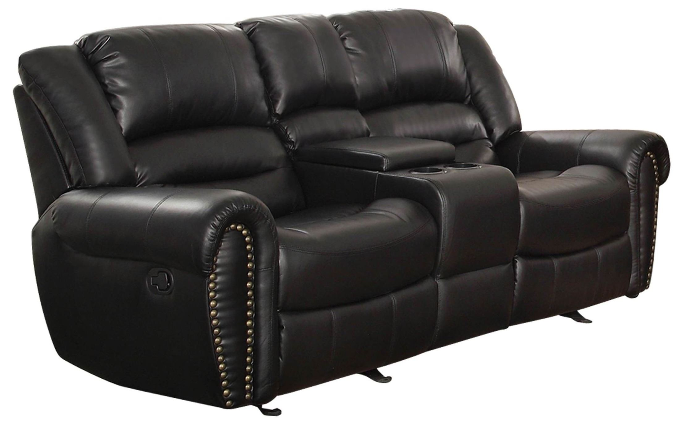 Center hill black power double reclining console loveseat from homelegance 9668blk 2pw Reclining loveseat with center console