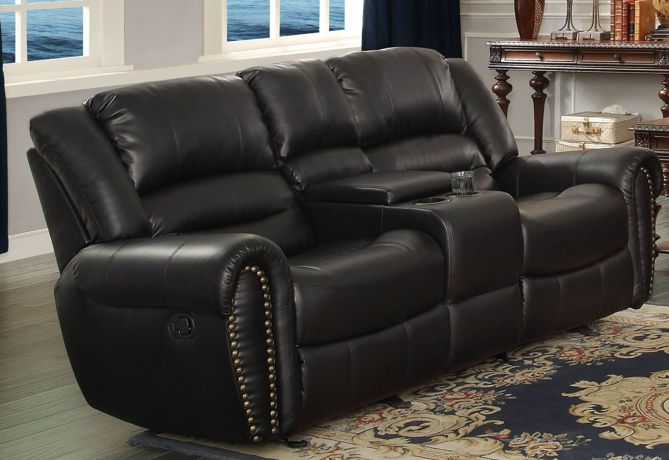 Center Hill Black Double Glider Reclining Loveseat With Console From Homelegance 9668blk 2