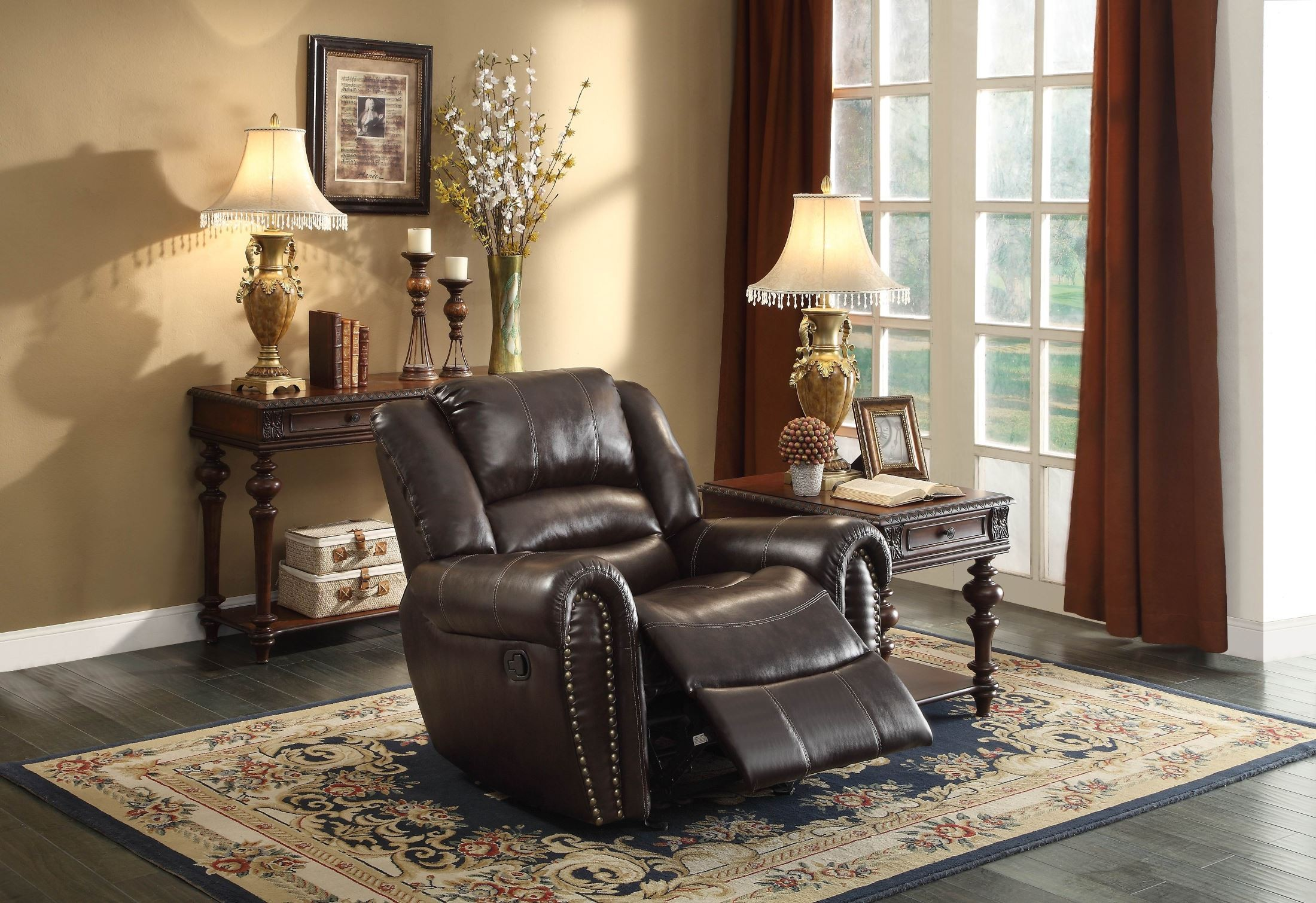 Center hill brown double reclining living room set from for Double chairs for living room