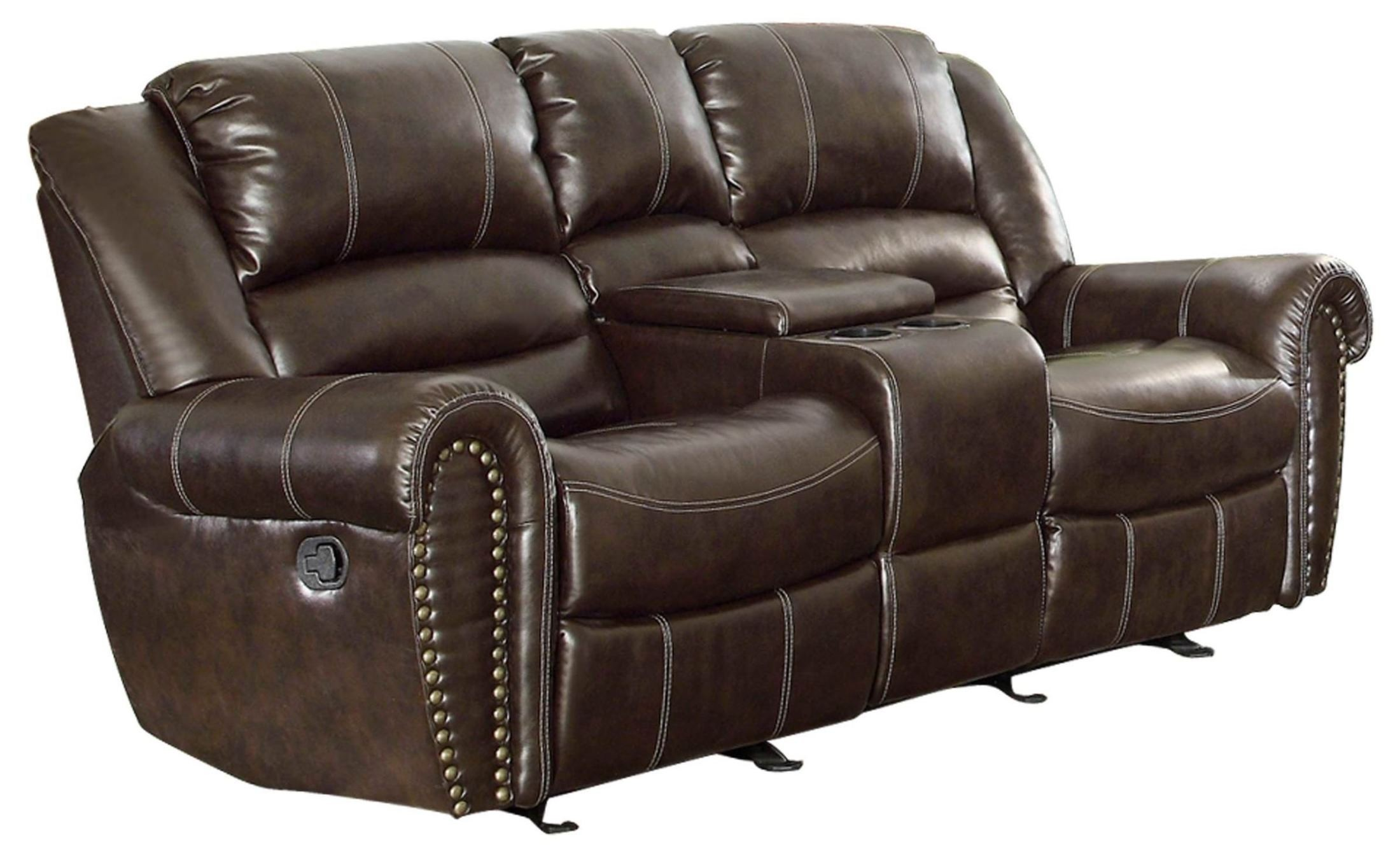 Center Hill Dark Brown Power Double Reclining Console Loveseat From Homelegance 9668brw 2pw