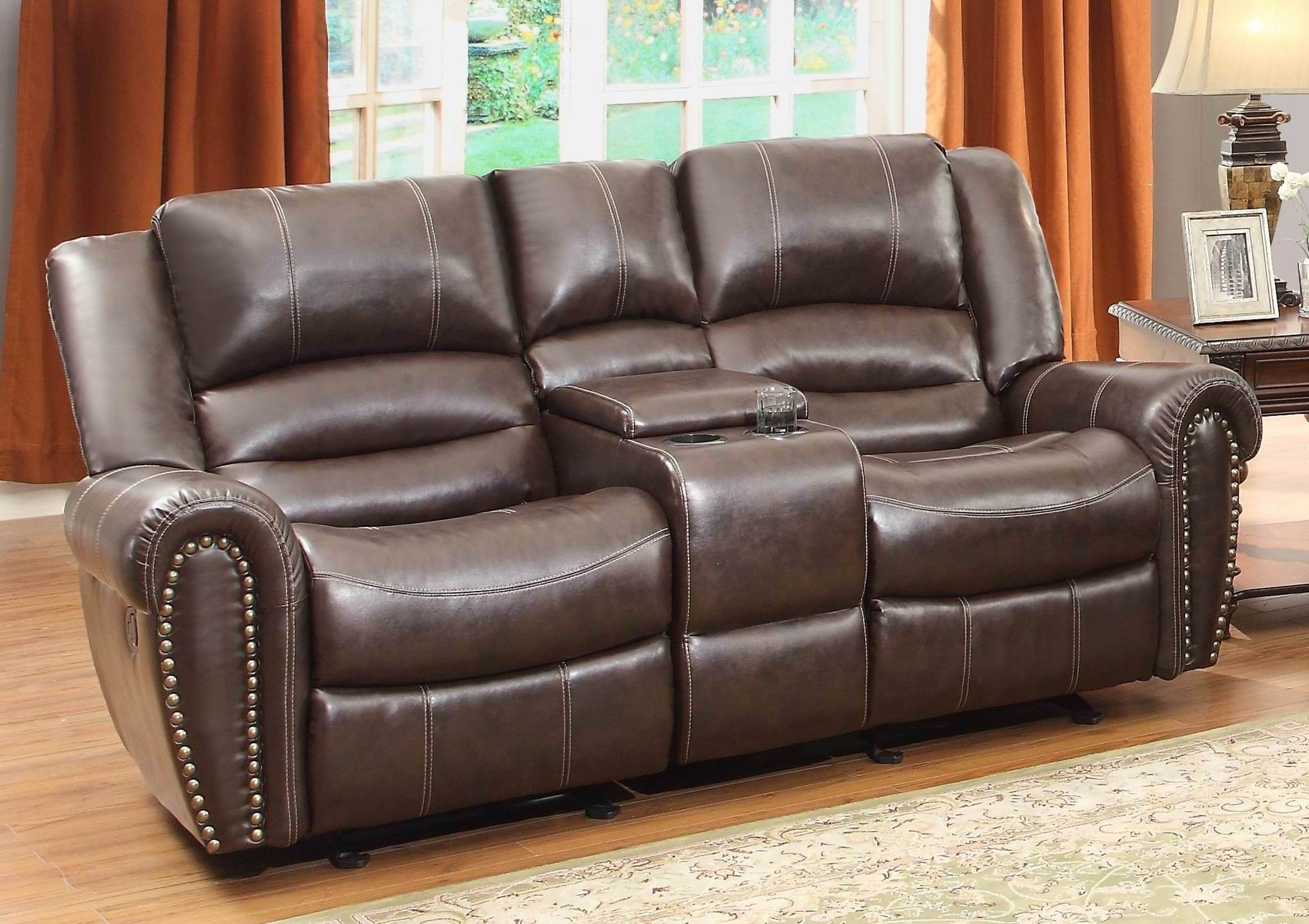 center hill brown double glider reclining loveseat with console from homelegance 9668brw 2. Black Bedroom Furniture Sets. Home Design Ideas