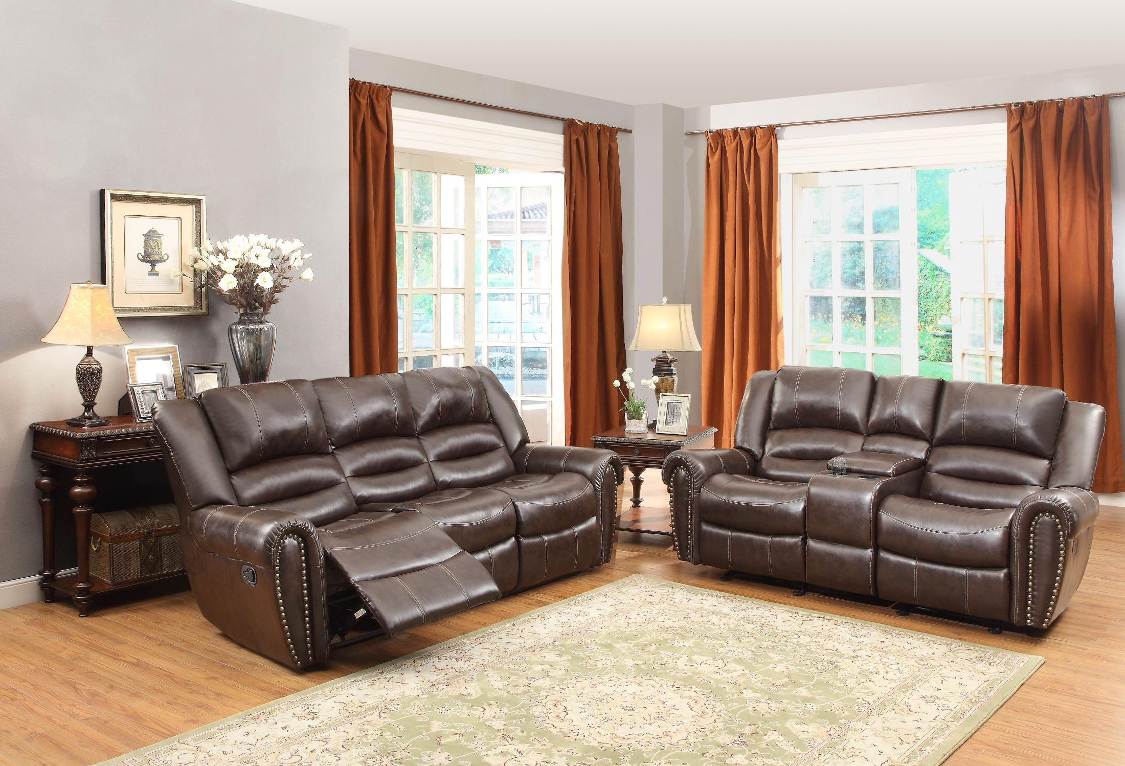Center hill dark brown power double reclining living room for Dark brown living room set