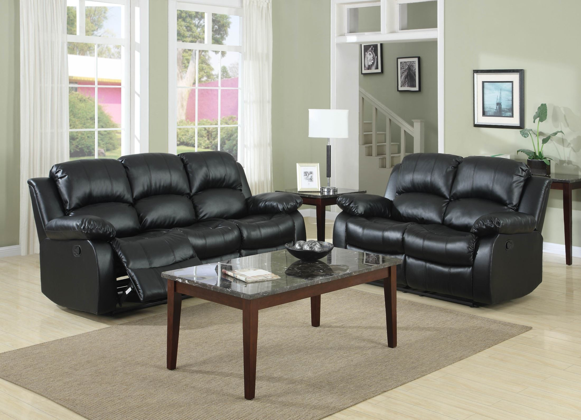 Cranley Black Power Double Reclining Living Room Set From Homelegance 9700blk 3pw Coleman