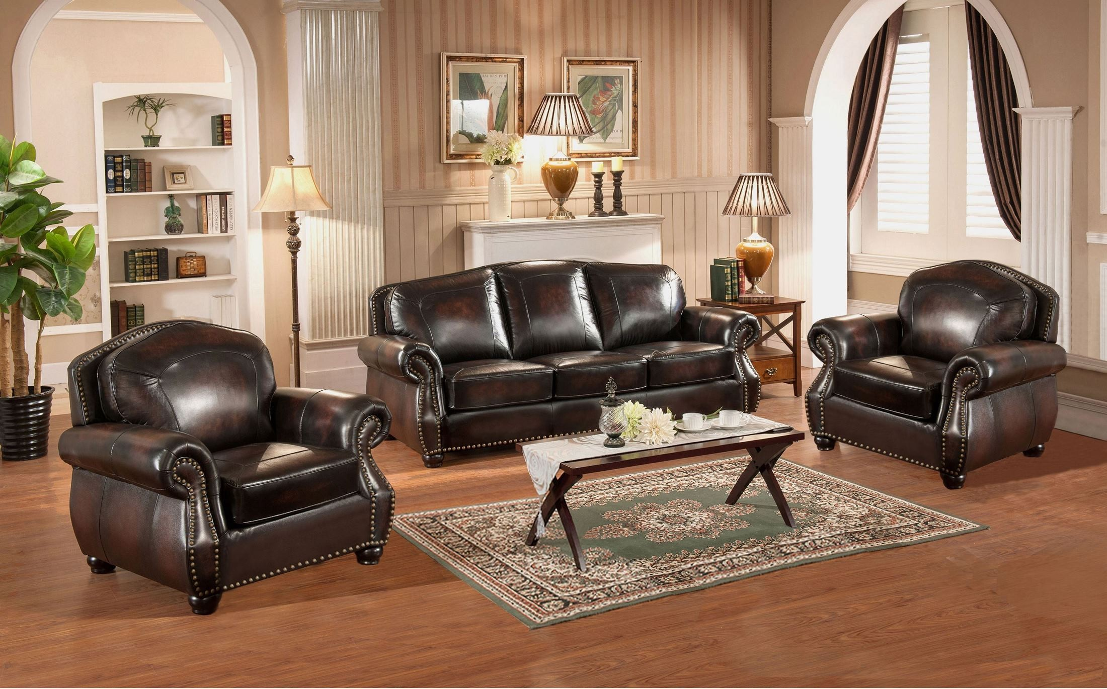hyde brown leather living room set c9701s2889ls amax leather. Black Bedroom Furniture Sets. Home Design Ideas