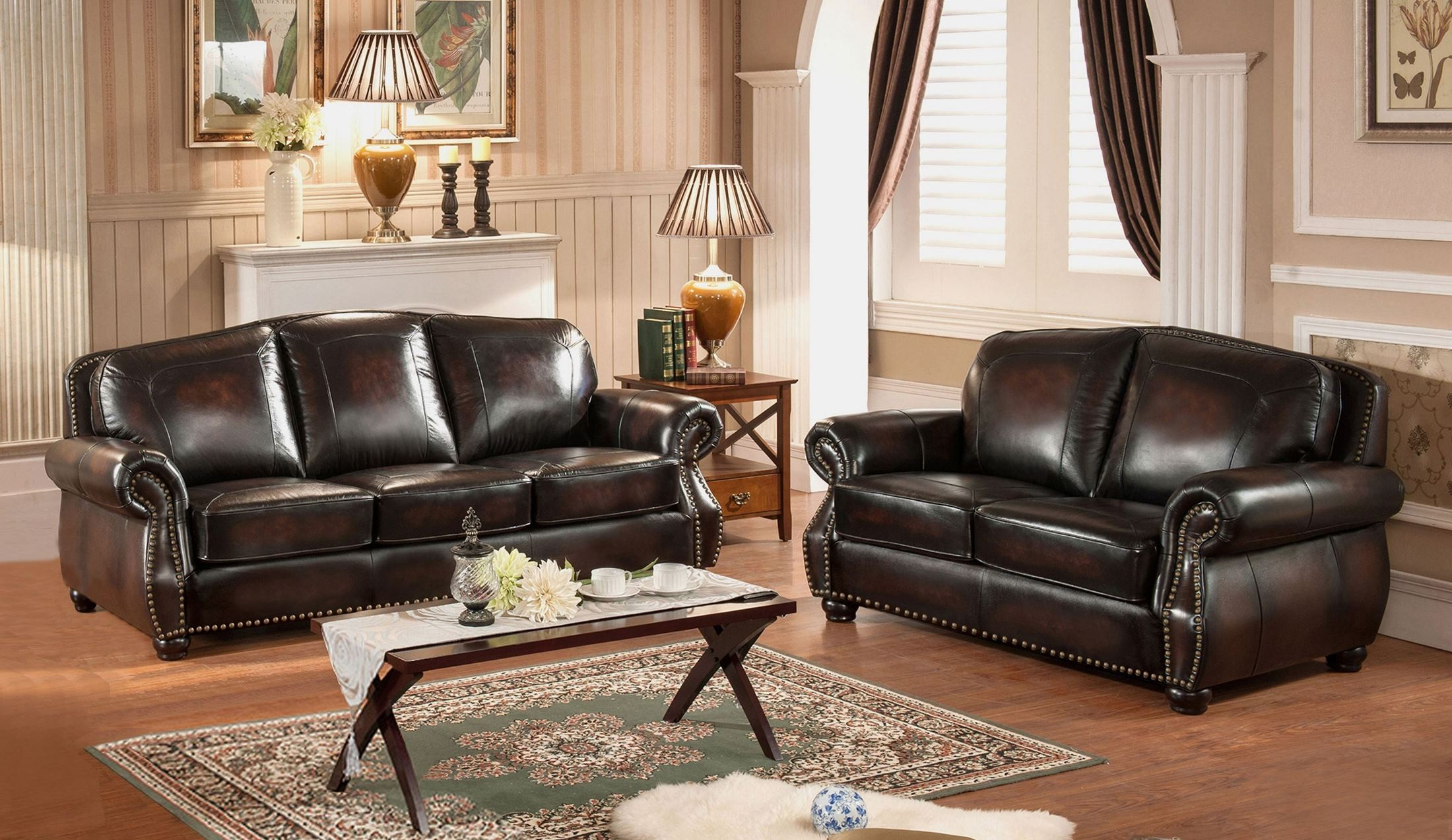 Hyde brown leather living room set c9701s2889ls amax leather for Brown leather living room set